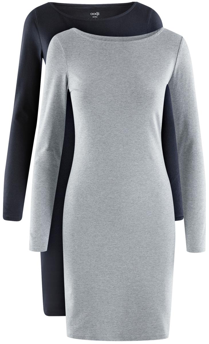 Платье oodji Ultra, цвет: темно-синий, светло-серый, 2 шт. 14001183T2/46148/19JGN. Размер S (44)14001183T2/46148/19JGNСтильное платье от oodji выполнено из эластичного хлопкового трикотажа. Модель облегающего силуэта с длинными рукавами и круглым вырезом горловины.В комплекте два платья.