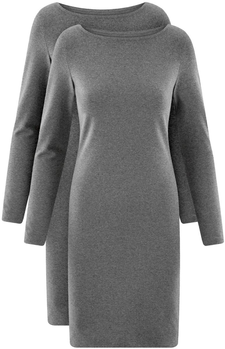 Платье oodji Ultra, цвет: темно-серый меланж, 2 шт. 14001183T2/46148/2500M. Размер XL (50)14001183T2/46148/2500MСтильное платье от oodji выполнено из эластичного хлопкового трикотажа. Модель облегающего силуэта с длинными рукавами и круглым вырезом горловины.В комплекте два платья.