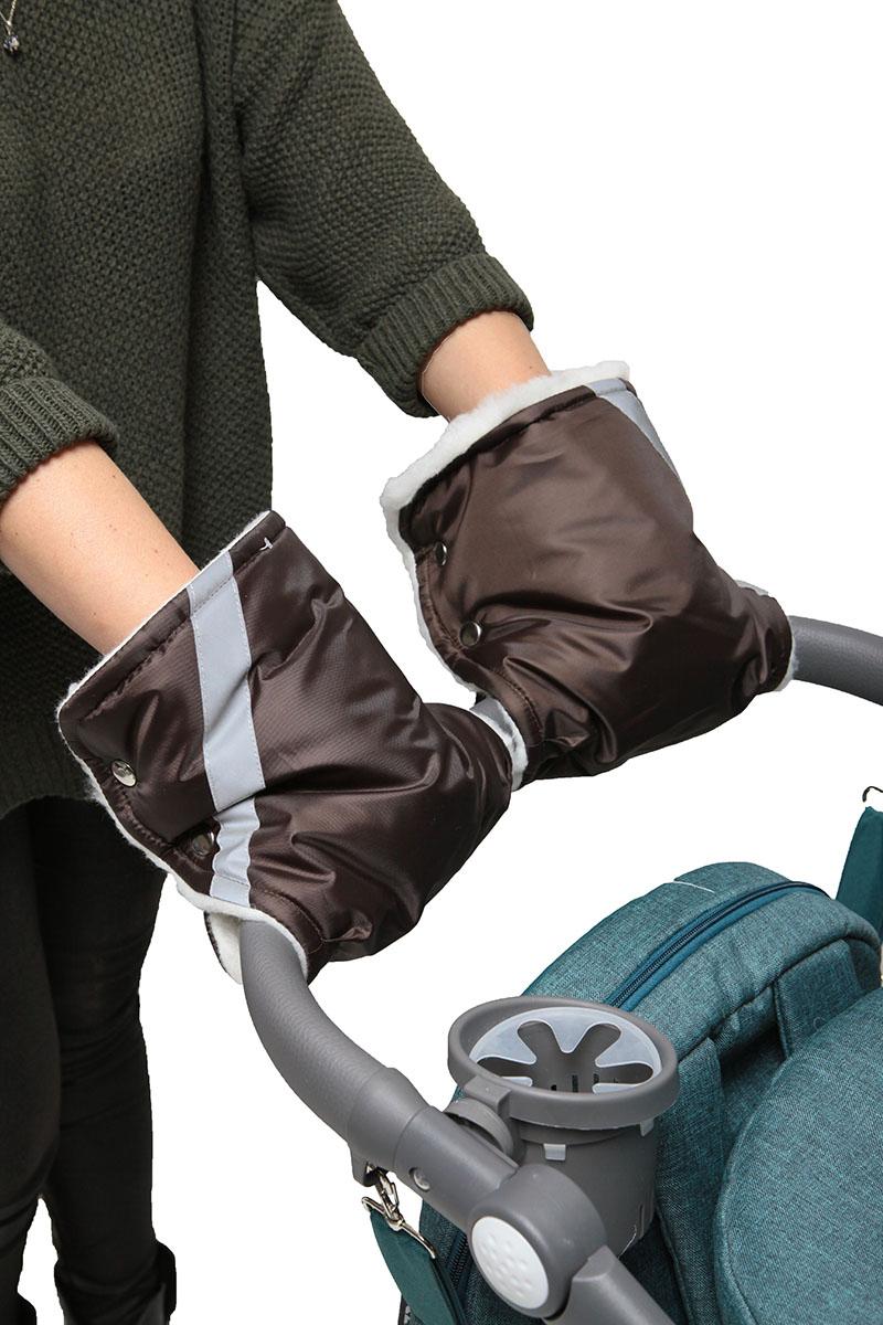 Топотушки Варежки для коляски цвет темно-коричневый муфта на ручку коляски lider kids серая