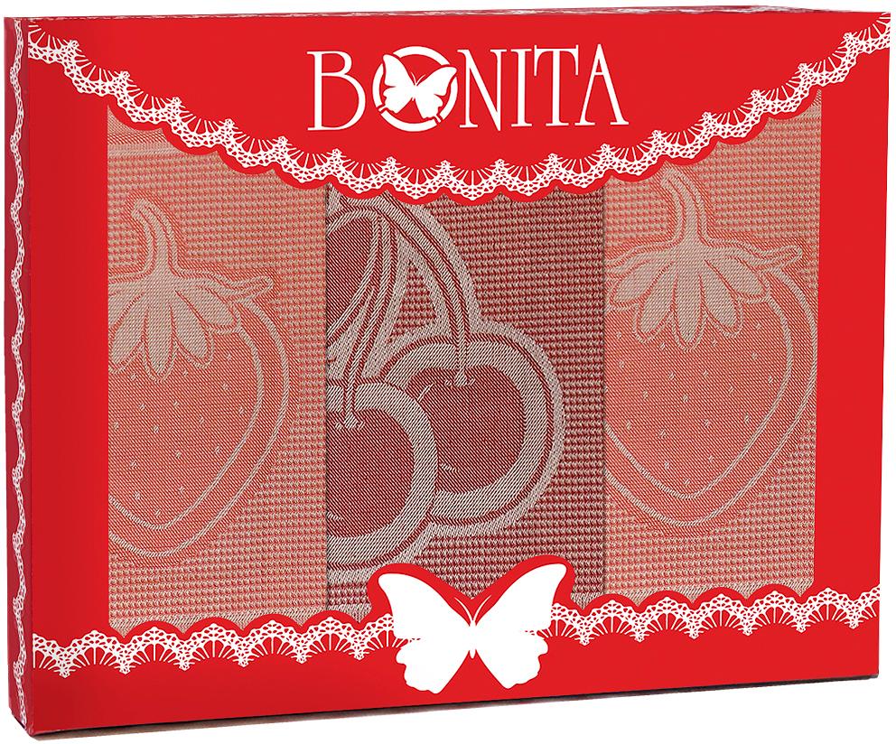 """Набор кухонных полотенец Bonita """"Фруктовый коктейль"""", цвет: красный, 3 шт"""