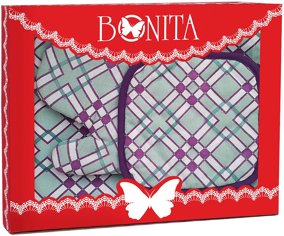 Подарочный набор для кухни Bonita Черничный Мохито, 3 предмета11010816821Подарочный набор для кухни Bonita состоит из прихватки, полотенца и рукавицы. Рукавица и прихватка оснащены петельками дляподвешивания. Предметы набора выполнены из хлопка, оформлены ярким изображением.Такой набор оригинально украсит интерьер и будет уместен на любой кухне. Прекрасно подойдет в качестве подарка, который окажется не толькоприятным, но и полезным в хозяйстве.Размер прихватки: 17 х 17 см.Размер полотенца: 35 х 63 см.Размер рукавицы: 16 х 28 см.