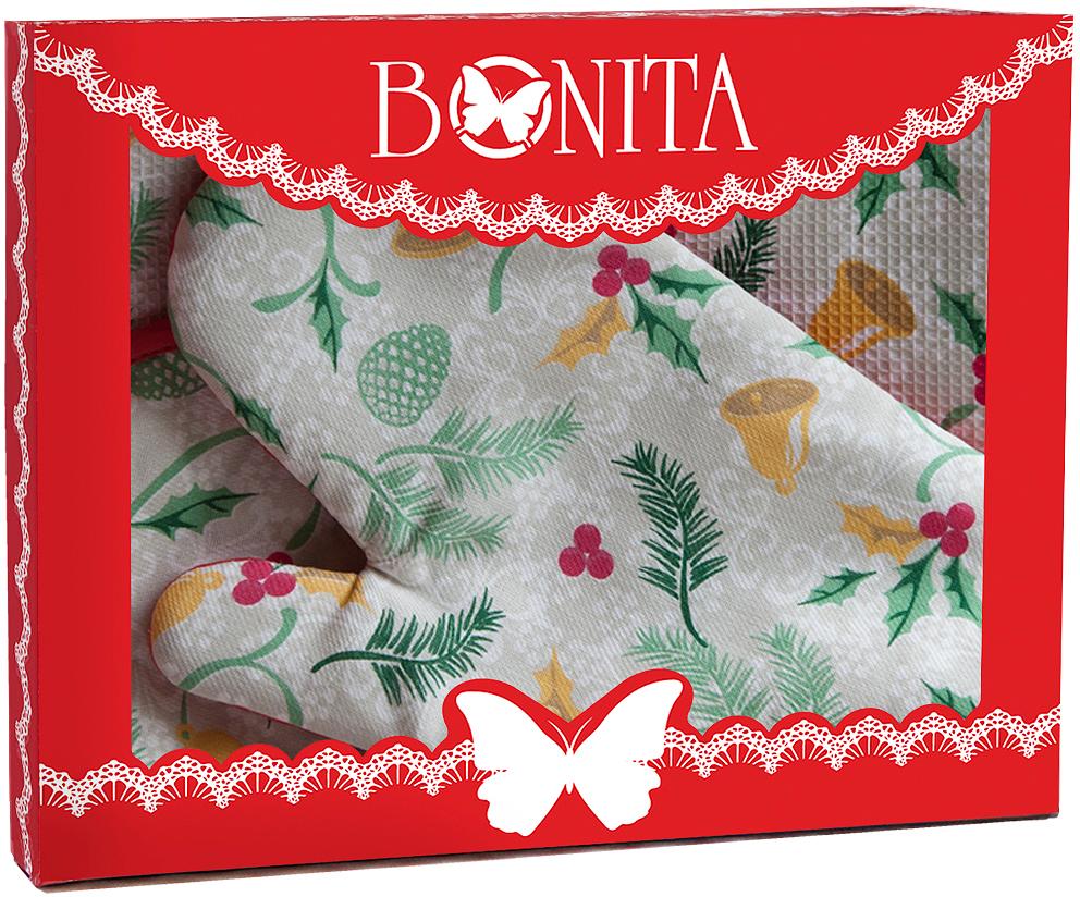 Подарочный набор для кухни Bonita Рождество, 3 предмета97043Подарочный набор для кухни Bonita состоит из прихватки, полотенца и рукавицы. Рукавица и прихватка оснащены петельками дляподвешивания. Предметы набора выполнены из хлопка, оформлены ярким изображением.Такой набор оригинально украсит интерьер и будет уместен на любой кухне. Прекрасно подойдет в качестве подарка, который окажется не толькоприятным, но и полезным в хозяйстве.Размер прихватки: 18 х 18 см.Размер полотенца: 33 х 65 см.Размер рукавицы: 17 х 28 см.