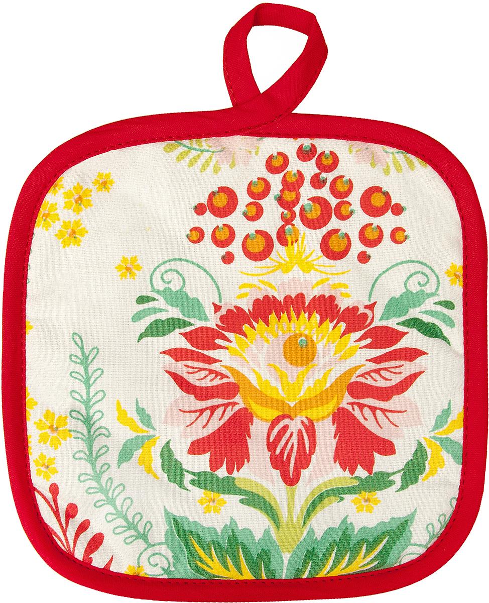 Прихватка Bonita Калинка, 18 х 18 см15010816716Прихватка Bonita выполнена из натурального хлопка и декорирована оригинальным рисунком. Изделие оснащено специальной петелькой, за которую его можно подвесить на крючок в любом удобном для вас месте. Такая прихватка красиво дополнит интерьер кухни.