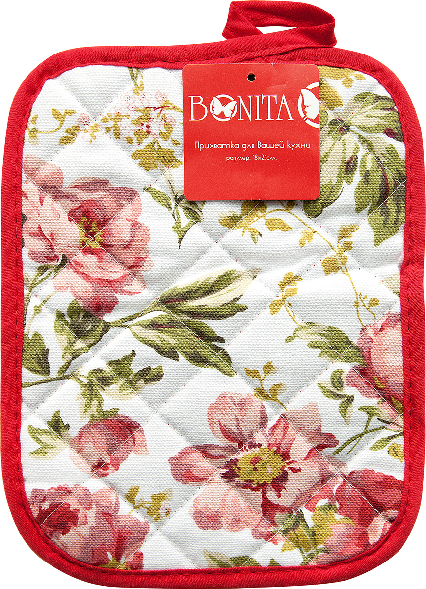 Прихватка Bonita Английская коллекция, цвет: красный, 18 x 23 см11010116595Прихватка Bonita выполнена из натурального хлопка и декорированаоригинальным рисунком.Изделие оснащено специальной петелькой, закоторую его можно подвесить на крючок в любомудобном для вас месте.Такая прихватка красиво дополнит интерьер кухни.