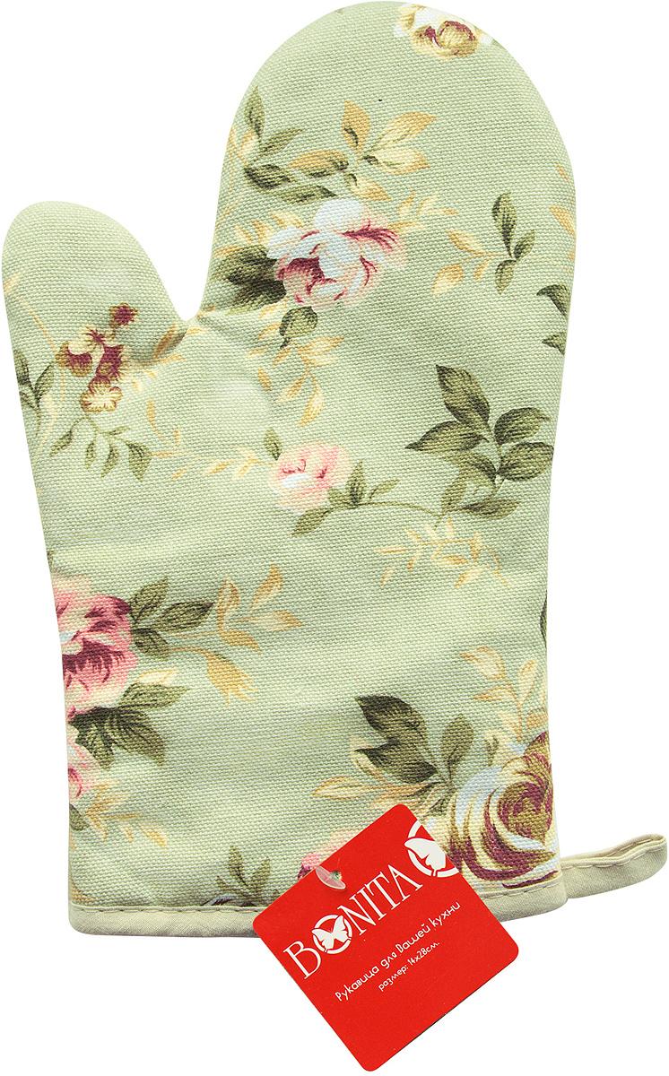 Варежка-прихватка Bonita Английская коллекция, цвет: зеленый, 17 x 28 см16010816741Варежка-прихватка Bonita, изготовленная из 100% хлопка, оформлена оригинальным и ярким рисунком. Прихватка предназначена для защиты рук от воздействия высоких температур и появления ожогов. Изделие оснащено петелькой, за которую его можно повесить в любое удобное место. Такая прихватка станет отличный вариантом подарка для практичной и современной хозяйки.