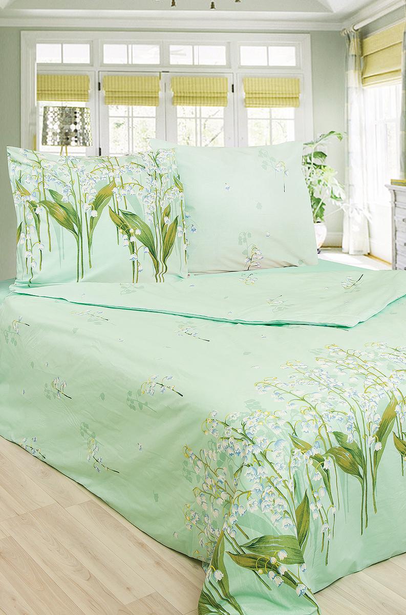 """Комплект постельного белья """"Ландыши"""" является экологически безопасным для всей семьи, так как выполнен из натурального хлопка. Комплект состоит из пододеяльника, простыни и двух наволочек. Предметы комплекта оформлены изображением ландышей.  Бязь - 100 % хлопок, хлопчатобумажная ткань полотняного переплетения без искусственных добавок. Большое количество нитей делает эту ткань более плотной, более долговечной. Высокая плотность ткани позволяет сохранить форму изделия, его первоначальные размеры и первозданный рисунок. Обладает низкой сминаемостью, легко стирается и хорошо гладится. При соблюдении рекомендуемых условий стирки, сушки и глажения ткань имеет усадку по ГОСТу, сохраняется яркость текстильных рисунков.   Характеристики: Страна: Россия. Материал: бязь (100% хлопок). Размер упаковки: 37 см х 27 см х 8 см. В комплект входят: Пододеяльник - 1 шт. Размер: 200 см х 220 см. Простыня - 1 шт. Размер: 220 см х 240 см. Наволочка - 2 шт. Размер: 70 см х 70 см.  Советы по выбору постельного белья от блогера Ирины Соковых. Статья OZON Гид"""