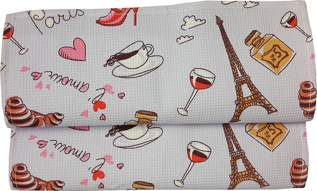 """Полотенце кухонное Bonita """"Париж"""", вафельное, 35 х 61 см"""