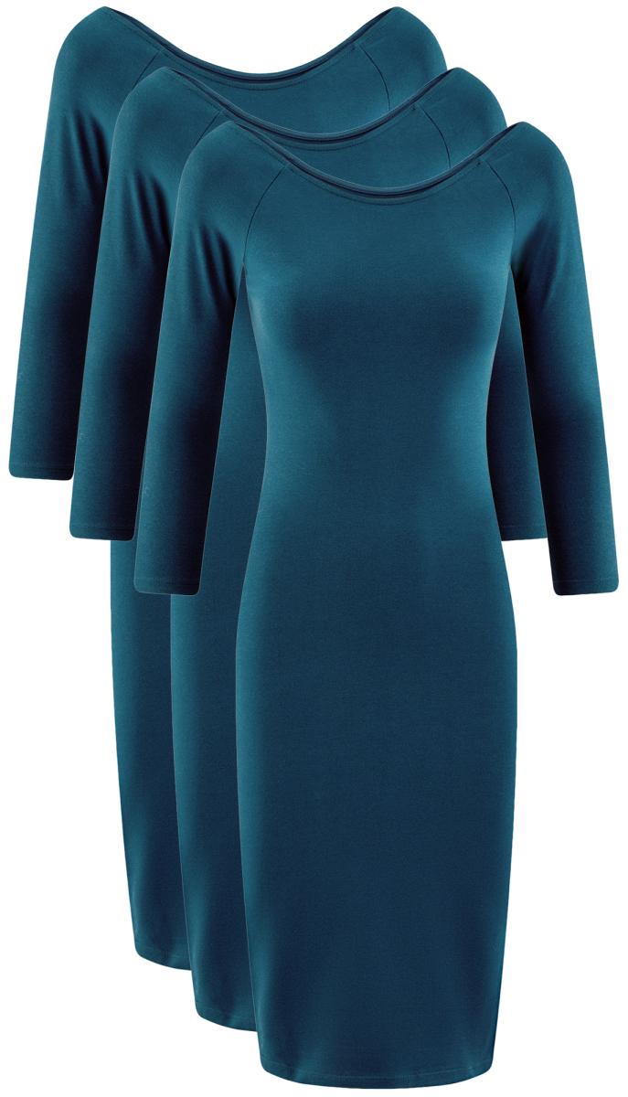Платье oodji Ultra, цвет: темно-бирюзовый, 3 шт. 14017001T3/47420/7901N. Размер S (44)14017001T3/47420/7901NСтильное платье oodji изготовлено из качественного эластичного хлопка. Облегающая модель с горловиной-лодочкой и рукавами 3/4. В наборе 3 платья.