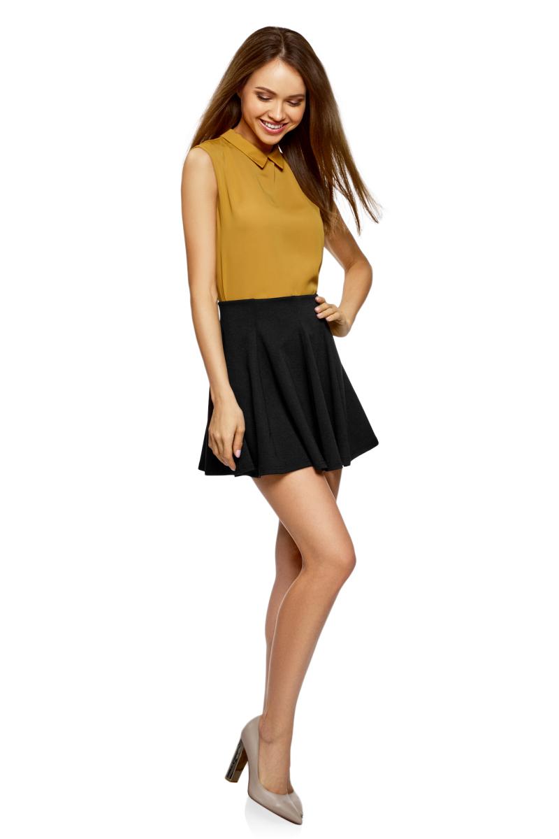 Юбка oodji Ultra, цвет: черный. 14102001B/38261/2900N. Размер L (48) платье oodji collection цвет черный 73912217 2b 33506 2900n размер l 48