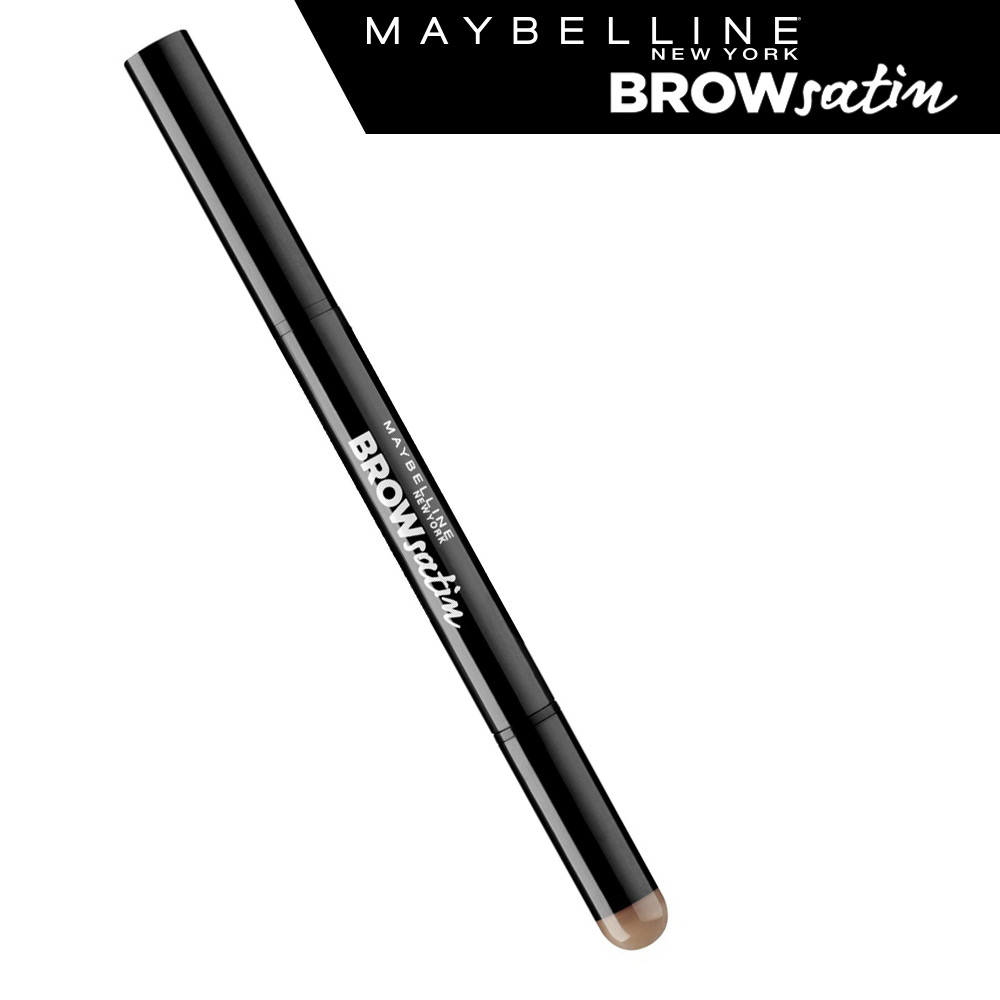 Maybelline New York Карандаш для бровей Brow Satin, карандаш + заполняющая пудра, оттенок 02, Коричневый, 7,1 г туши maybelline new york тушь для бровей brow precise fiber filler оттенок 06 темно коричневый 7 6 мл