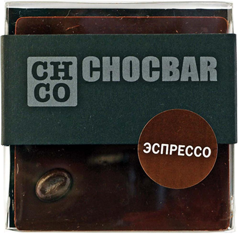 Chco Chocbar Dark Эспрессо темный шоколад, 60 г4627073370258Chco Chocbar Dark Эспрессо станет настоящей находкой для любителей классического вкуса темного шоколада и ароматного кофе. Попробовав этот шоколад, Вы не сможете отказать себе в удовольствии полакомиться им еще и еще.