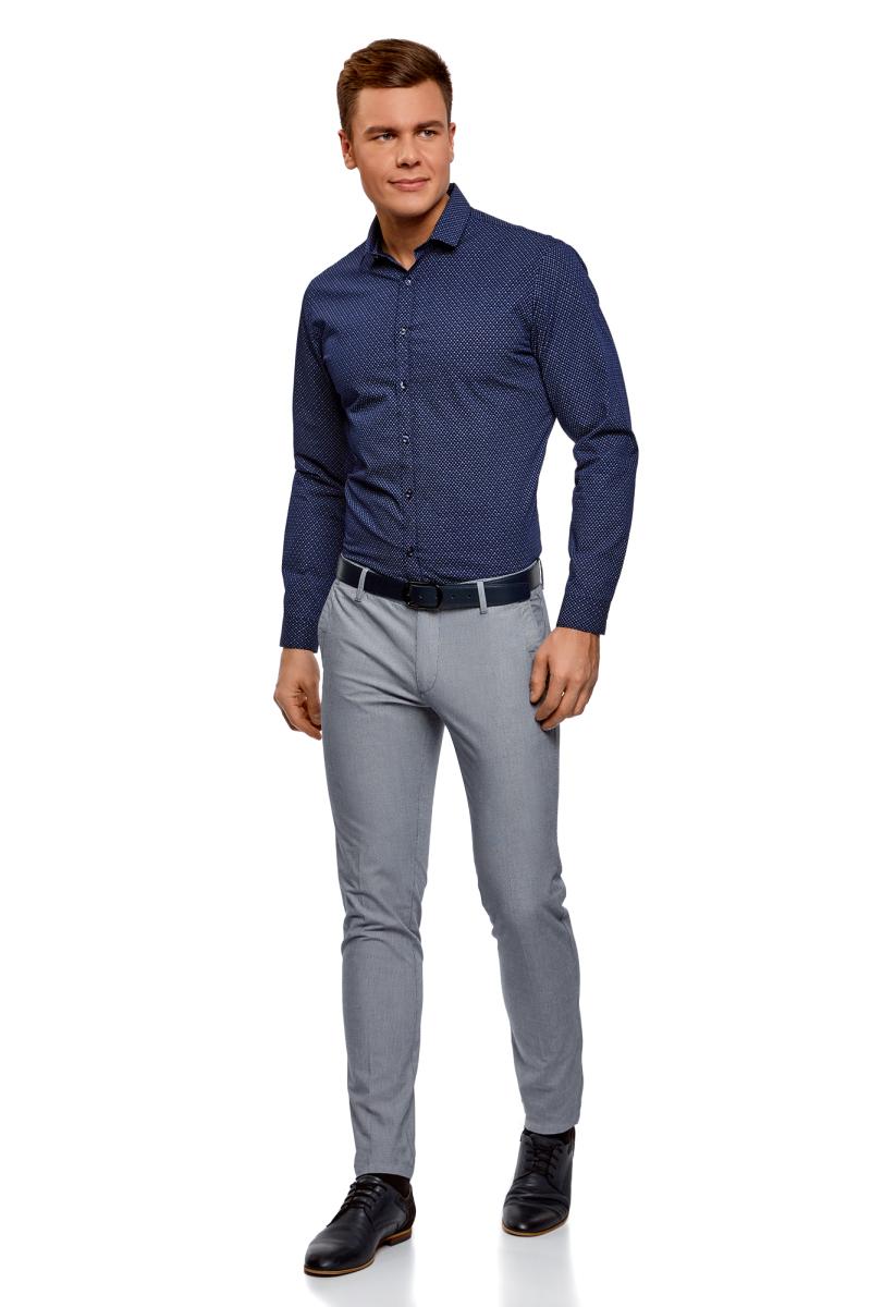Рубашка мужская oodji Lab, цвет: темно-синий, белый. 3L110286M/44425N/7910G. Размер 40 (48-182)3L110286M/44425N/7910GРубашка от oodji выполнена из натурального хлопка в мелкую графику. Модель приталенного кроя с длинными рукавами и отложным воротником застегивается на пуговицы.