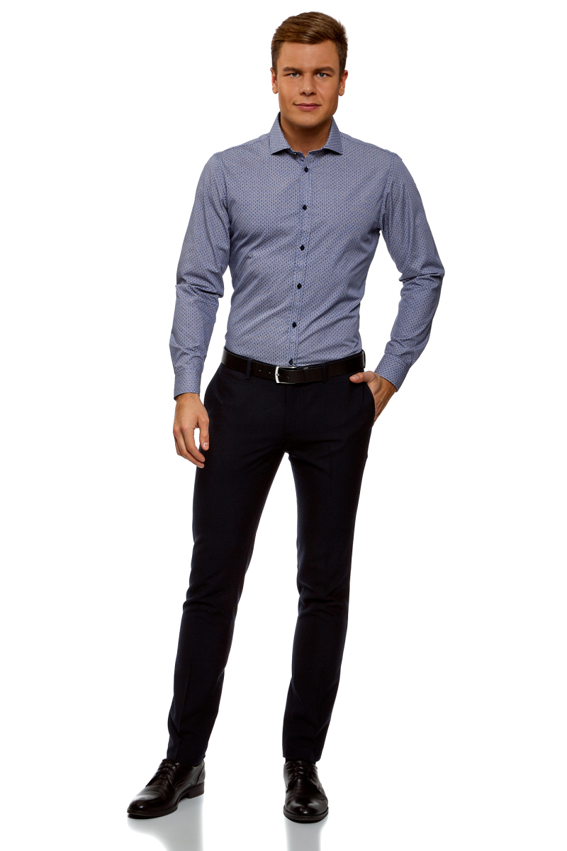 Рубашка мужская oodji Lab, цвет: белый, темно-синий. 3L110288M/19370N/1079G. Размер 42 (52-182)3L110288M/19370N/1079GРубашка от oodji выполнена из натурального хлопка в мелкую графику. Модель приталенного кроя с длинными рукавами и отложным воротником застегивается на пуговицы.