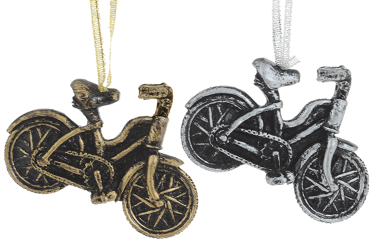 Украшение новогоднее подвесное Magic Time Велосипеды, 2 шт. 7539375393Новогоднее подвесное украшение Велосипеды из полирезины (набор из 2 шт), 12.8х8.5х1.8, артикул 75393