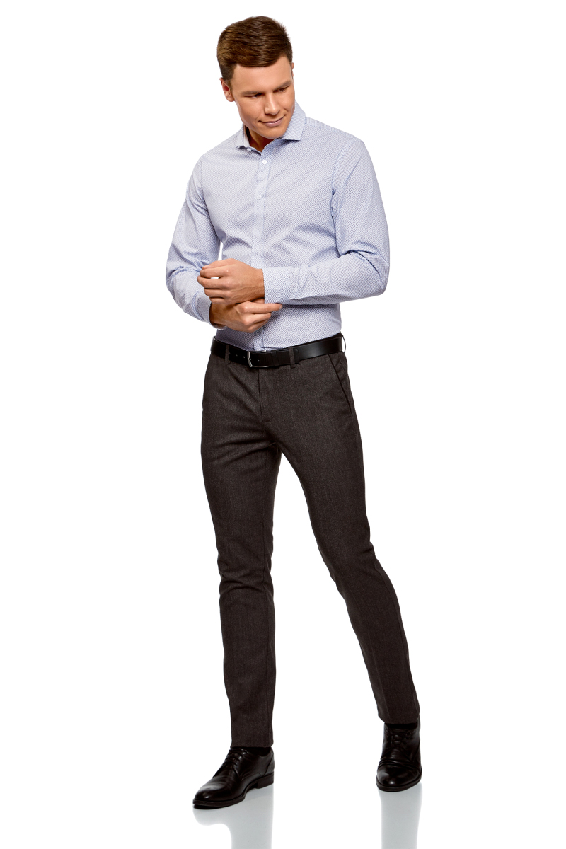 Рубашка мужская oodji Lab, цвет: белый, синий. 3L110301M/19370N/1075G. Размер 39 (46-182)3L110301M/19370N/1075GРубашка от oodji выполнена из натурального хлопка в мелкую графику. Модель приталенного кроя с длинными рукавами и отложным воротником застегивается на пуговицы.