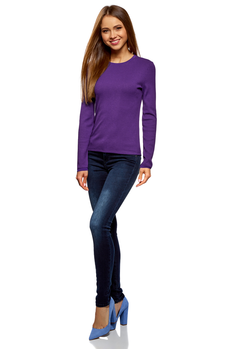 Джемпер женский oodji Ultra, цвет: фиолетовый. 14801063/46412/8300N. Размер S (44) пуловеры oodji пуловер