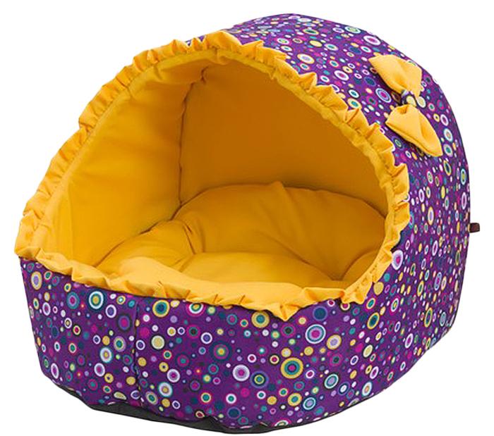 Лежак для животных Каскад Эстрада. Равенна, цвет: фиолетовый, желтый, 38 х 41 х 38 смsh-01061MЯркий мягкий лежак с крышей несомненно понравится вашему питомцу. Ему будет очень уютно в нем.