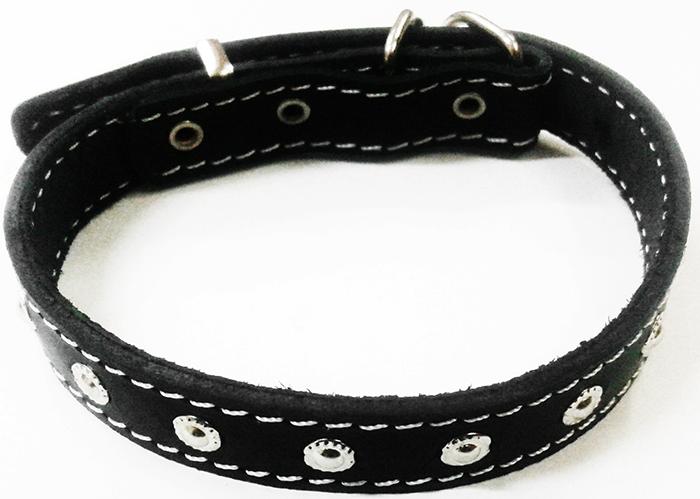 Ошейник для собак Каскад, двойной с украшениями и кольцом перед пряжкой, ширина 2,5 см, диаметр 39-46 см, цвет: черный00025061чОшейник кожаный двойной черный с украшениями, кольцо перед пряжкой ширина 25 мм, обхват шеи от 39 до 46.