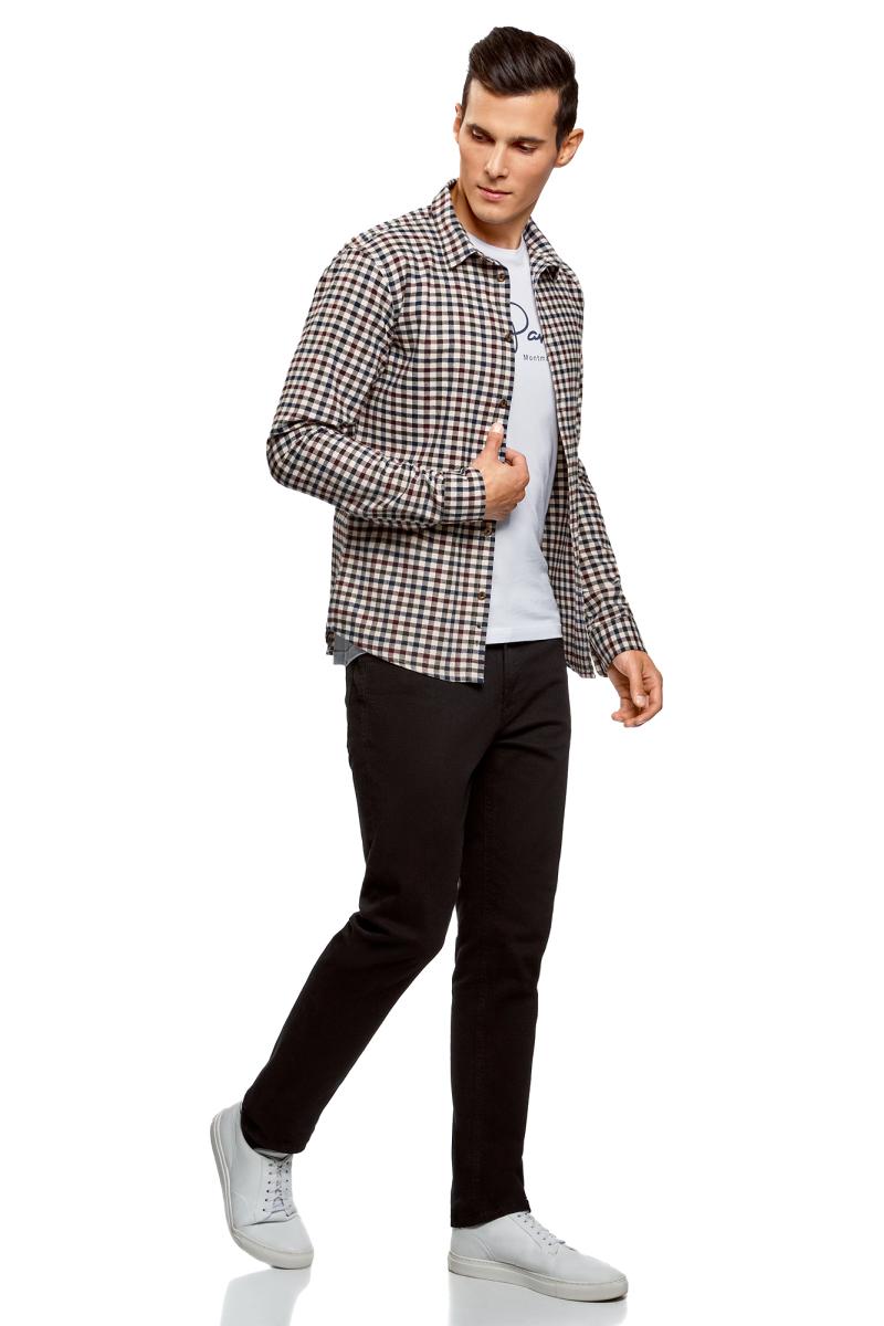 Рубашка мужская oodji Lab, цвет: белый, темно-синий. 3L310155M/44527N/1279C. Размер S (46/48-182)3L310155M/44527N/1279CРубашка от oodji выполнена из натурального хлопка в клетку. Модель прямого кроя с длинными рукавами и отложным воротником застегивается на пуговицы.