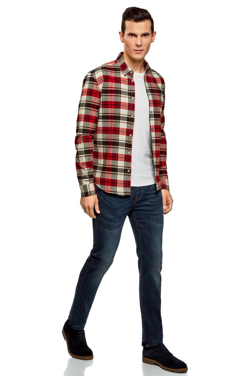 Купить Рубашка мужская oodji Lab, цвет: красный, белый. 3L310158M/44527N/4512C. Размер S (46/48-182)