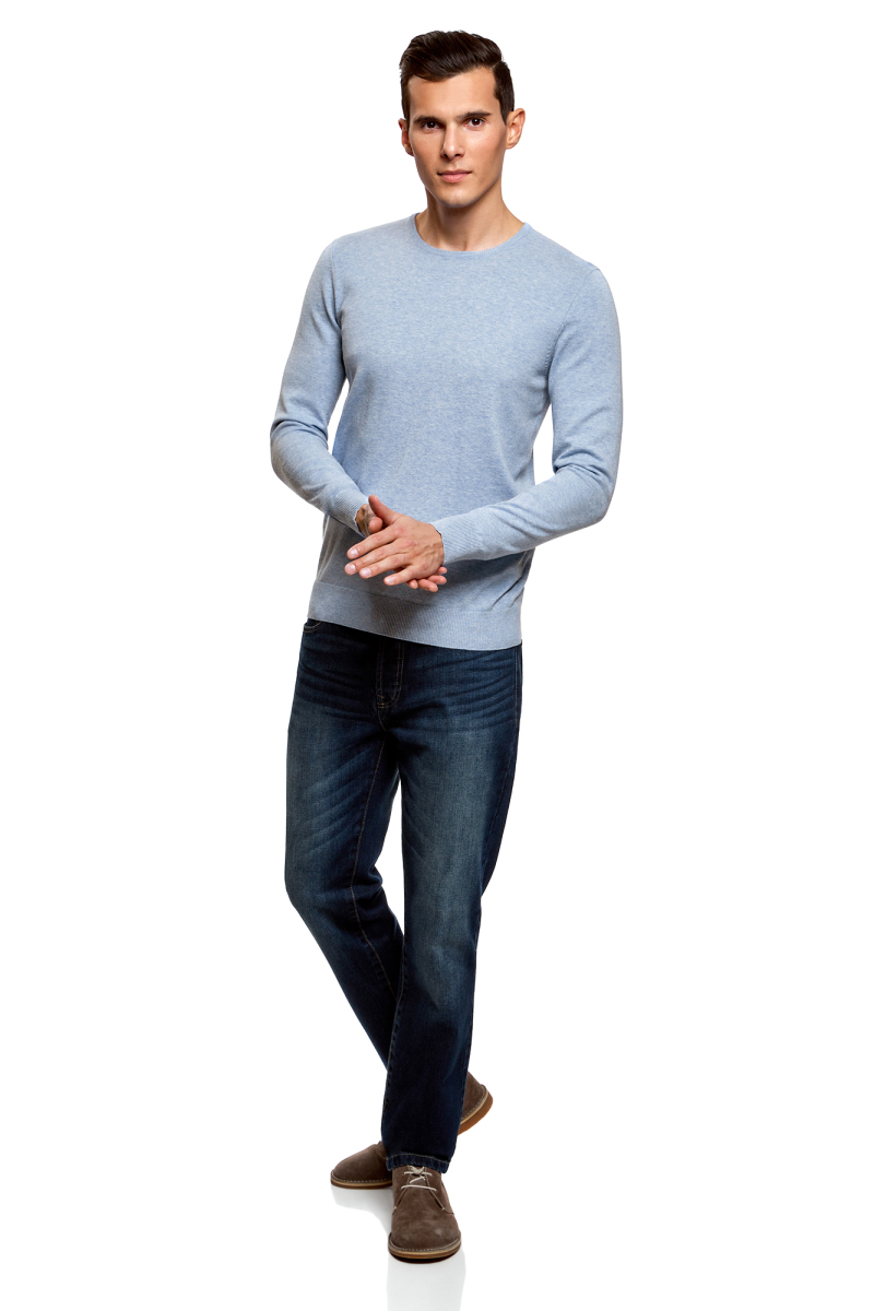 Джемпер мужской oodji Basic, цвет: голубой меланж. 4B112003M/34390N/7001M. Размер XXL (58/60)4B112003M/34390N/7001MМужской джемпер oodji Basic выполнен из хлопка с добавлением полиамида. Модель с круглым вырезом горловины и длинными рукавами. Вырез горловины, манжеты рукавов и низ изделия связаны резинкой.