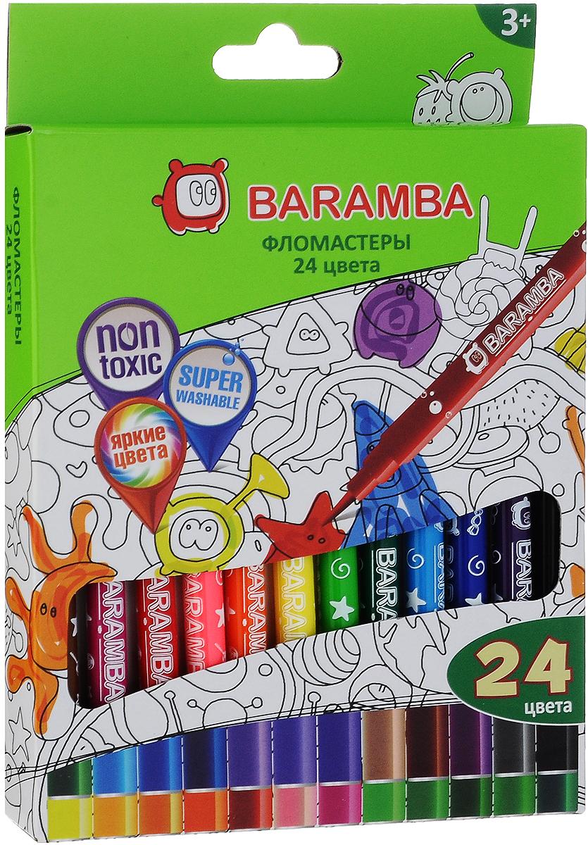 Baramba Фломастеры на водной основе 24 цветаB80724Фломастеры Baramba помогут маленькому художнику раскрыть свой творческий потенциал, рисовать и раскрашивать яркие картинки, развивая воображение, мелкую моторику и цветовое восприятие.В наборе 24 разноцветных фломастера. Особенности: нетоксичные чернила на водной основе; проветриваемый колпачок;яркие цвета; не высыхают при открытом колпачке до 5 дней;легко отстирываются с одежды. Уважаемые клиенты! Обращаем ваше внимание на то, что упаковка может иметь несколько видов дизайна. Поставка осуществляется в зависимости от наличия на складе.