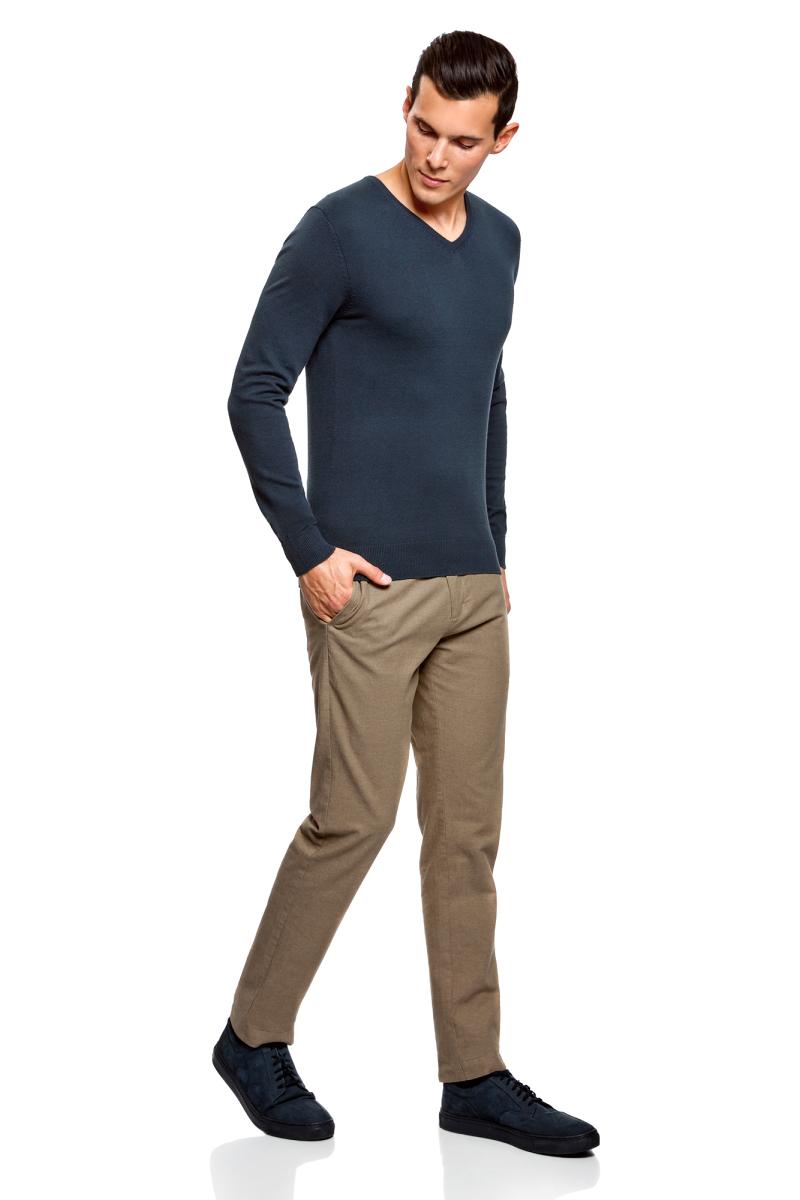 Пуловер мужской oodji Basic, цвет: серо-синий. 4B212004M/39796N/7901N. Размер L (52/54)4B212004M/39796N/7901NМужской пуловер oodji Basic изготовлен из мягкого эластичного материала. Модель имеет V-образный вырез горловины и длинные рукава. Вырез горловины, манжеты и низ изделия связаны резинкой.