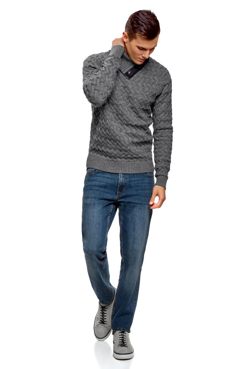 Свитер мужской oodji Lab, цвет: серый меланж. 4L305038M/25365N/2300M. Размер XL (56) брюки спортивные мужские oodji lab цвет серый меланж 5l200013m 46295n 2300m размер xl 56