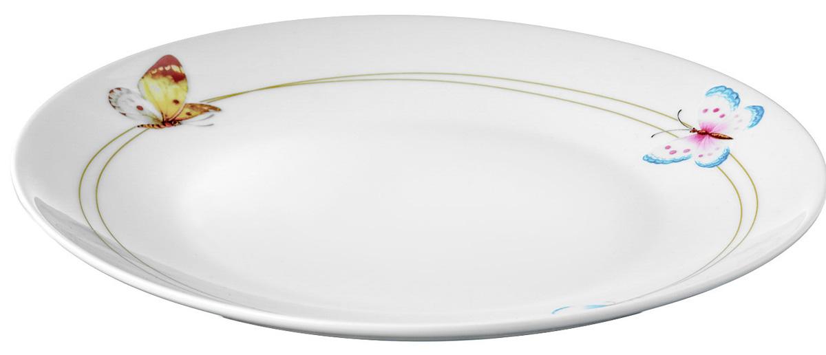 Набор обеденных тарелок Mariposa изготовлен из твердого фарфора.  Название коллекции Mariposa (в переводе с испанского «бабочка») также красиво, как и раскраска крыльев этих прекрасных созданий. Летящие бабочки на фоне белоснежного фарфора создают ощущение легкости и простора.   Набор тарелок состоит из 6 предметов: 6 тарелок диаметром 245 мм. Изделия из твердого фарфора можно использовать в микроволновой печи, мыть в посудомоечной машине.
