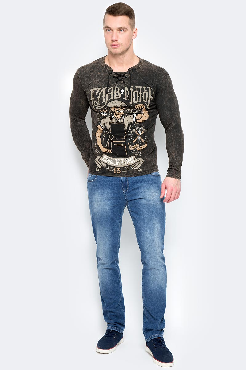 Лонгслив мужской Главмотор Кузня, цвет: темно-коричневый. Л0000000001. Размер L (50) лонгслив lisa crown лонгслив