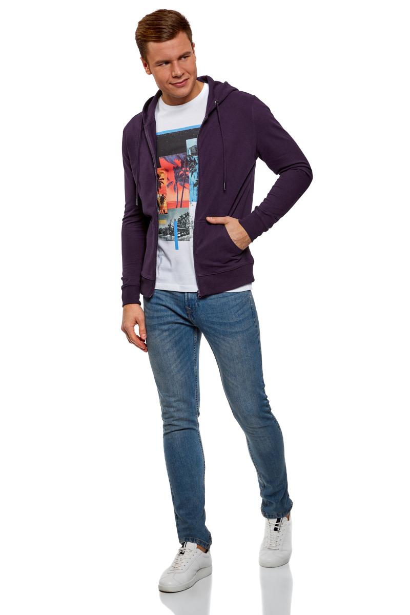 Толстовка мужская oodji Basic, цвет: темно-фиолетовый. 5B115004M/47648N/8800N. Размер L (52/54)