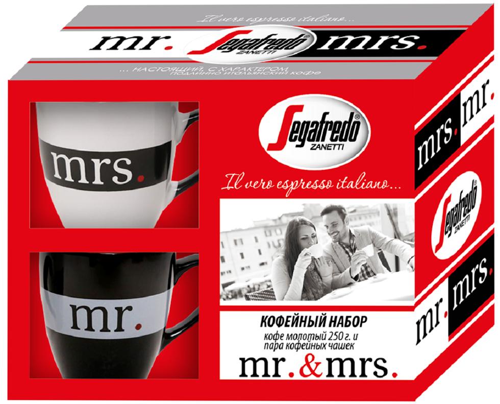 """Подарочный набор от ТМ """"Segafredo"""" подойдет в качестве подарка к любому событию. В состав набора входит: кофе натуральный жаренный молотый Segafredo 250 г; чашки кофейные 2 шт, каждая объем 200 мл."""
