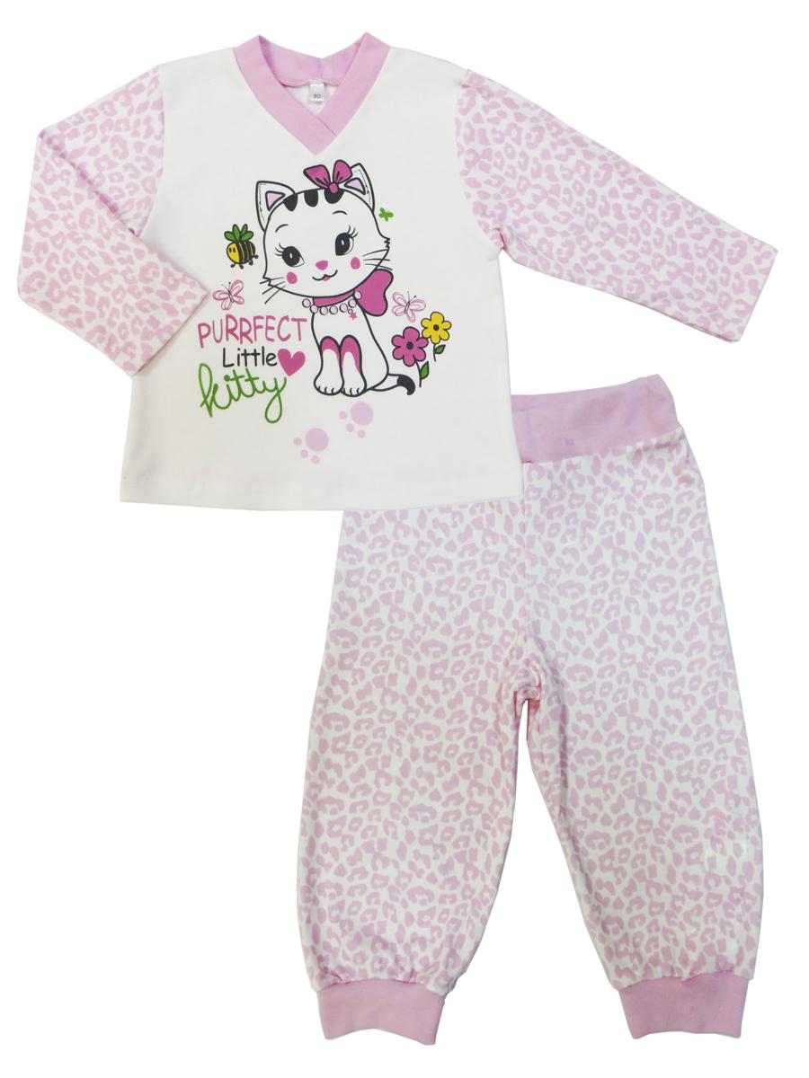 Пижама для девочки Soni Kids Маленькая Леди, цвет: розовый, белый. З7113001. Размер 110З7113001Пижама для девочки Soni Kids выполнена из 100% хлопка. Состоит из лонгслива с длинным рукавом и брюк. Лонгслив с V-образным вырезом горловины спереди оформлен принтом с изображением кошки и надписями. Брюки на широкой эластичной резинке также декорированы принтовым рисунком. Брючины дополнены трикотажными манжетами контрастного цвета.