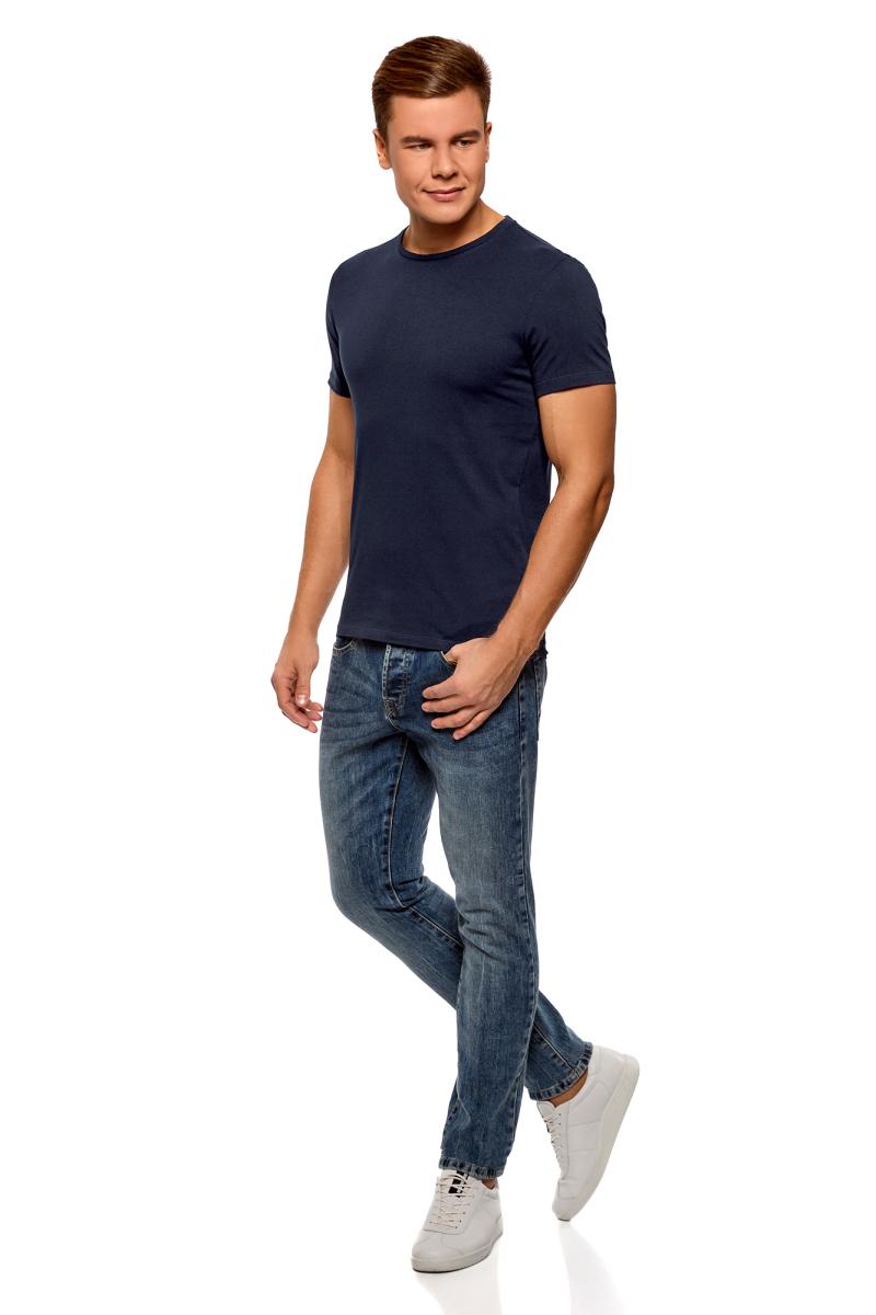 Футболка мужская oodji Basic, цвет: темно-синий, серый, 2 шт. 5B621002T2/44135N/1901N. Размер XS (44)5B621002T2/44135N/1901NБазовая мужская футболка от oodji с круглым вырезом горловины и короткими рукавами выполнена из натурального хлопка. В комплект входит 2 футболки.
