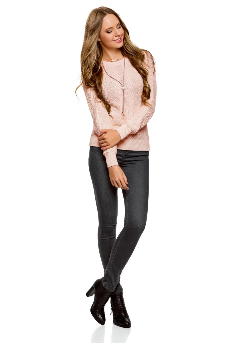 Джемпер женский oodji Ultra, цвет: светло-розовый меланж. 63807325/31347/4000M. Размер XXL (52) жилет женский oodji ultra цвет черный 64512027 31347 2900n размер xs 42