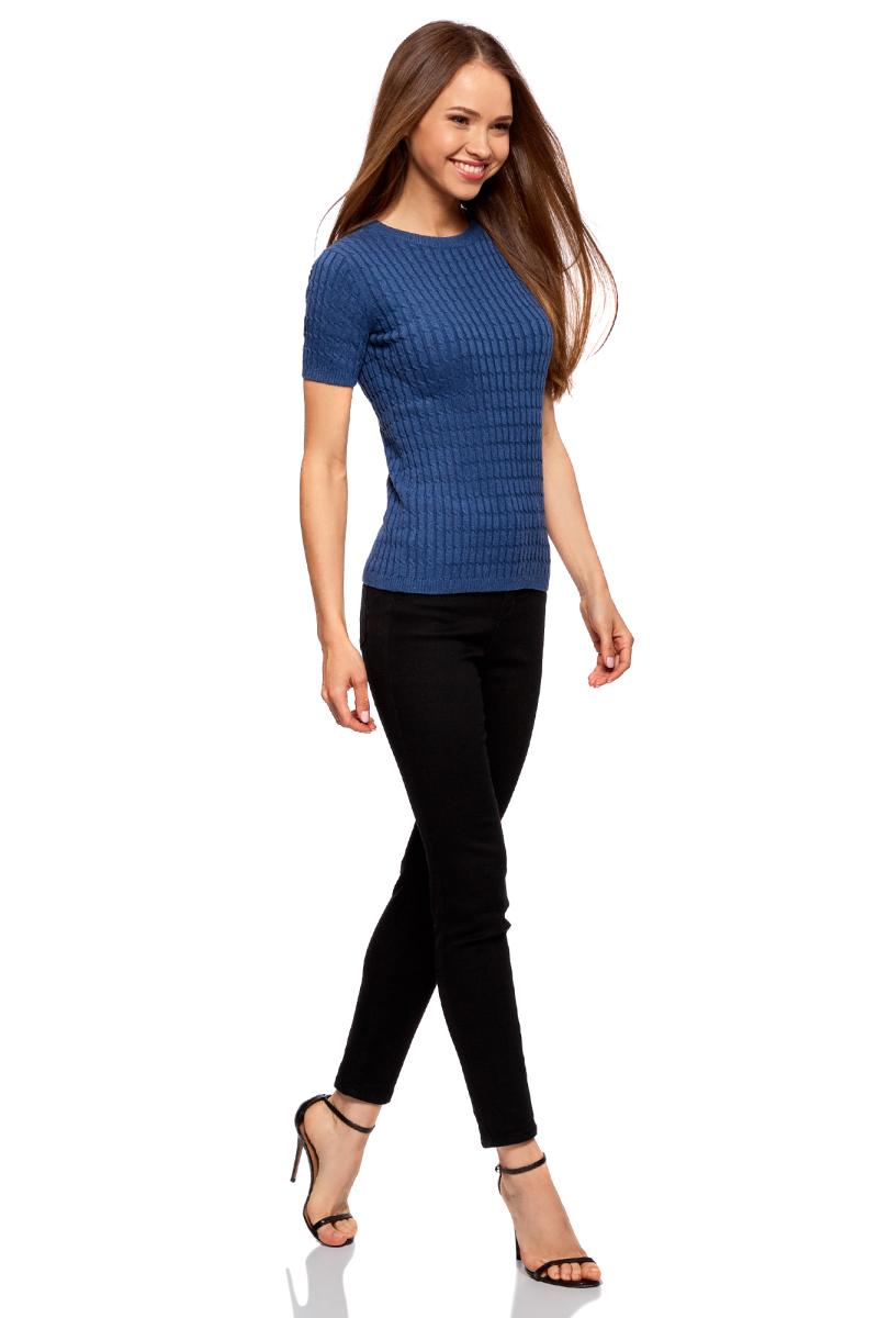 Джемпер женский oodji Ultra, цвет: синий меланж. 63812518-3B/46139/7500M. Размер S (44)63812518-3B/46139/7500MЖенский джемпер от oodji выполнен из хлопковой пряжи сложного состава. Модель с короткими рукавами и круглым вырезом горловины оформлена вязкой в косичку.