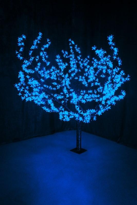 Светодиодное дерево Neon-Night Сакура, цвет: синий, диаметр кроны 180 см, высота 150 см531-103Световое дерево Сакура представляет собой имитацию цветущей японской сакуры. Оно используется для декоративного освещения интерьеров и ландшафтов. Такое дерево может стать прекрасным украшением для вашего дома, офиса, торгового зала, кафе, ресторана или загородного участка. Оно создаст уют, придаст оригинальный стиль и необходимый вам колорит независимо от времени года. Конструкция имеет лекгосплавной каркас в оболочке из темного пластика. На ветках дерева расположены яркие светодиодные гирлянды с силиконовыми насадками (цветками). Светодиодное дерево выглядит очень натурально.Питание осуществляется через сетевой трансформатор, поэтому изделие является низковольтным и может использоваться в уличных условиях. Диаметр кроны: 1,8 м. Высота дерева: 1,5 м. 864 лепестка.