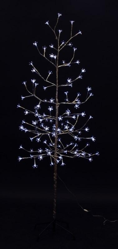 Дерево комнатное Neon-Night Сакура, светодиодное, 120 LED, цвет: белый, с трансформатором, 150 см531-275Дерево комнатное Сакура, ствол и ветки обернуты фольгой, высота 1,5 метра, 120 светодиодов белого цвета, трансформатор IP44, длина шнура питания 10 метров, основание металлическая крестовина