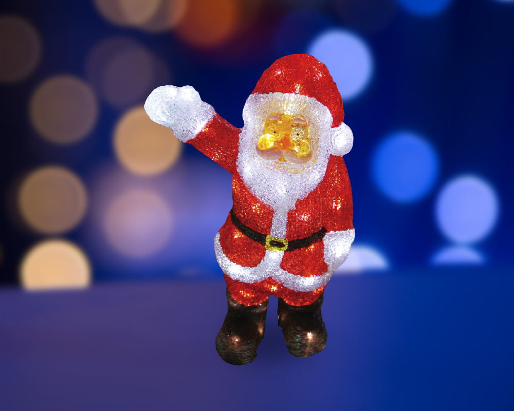Фигура акриловая светодиодная Neon-Night Санта Клаус приветствует, 40 LED, с понижающим трансформатором, 30 см513-273Акриловые фигуры за несколько лет вызвали большой интерес у дизайнеров и частных клиентов. С каждым годом расширяется не только ассортимент акриловых фигур, но и появляются новые технологии нанесения акрила. Эти яркие, светящиеся объемные фигуры, состоящие из металлического каркаса, акрила и светодиодов, применяются для оформления и создания новогодней атмосферы в кафе, ресторанах, торговых центрах, магазинах, на площадях и перед входом, а также просто в частных домах и квартирах. Все фигуры укомплектованы понижающим трансформатором , что обеспечивает безопасность при контактировании, а так же имеют степень защиты IP 44, что позволяет использовать их как в помещении, так и на улице. Акриловая светодиодная фигура Санта Клаус приветствует высотой 30 см, светящаяся более чем 40 ярких диодов, выполнена по специальной технологии нанесения акрила имитируя шерстяной покров реального животного. Она позволит Вам создать ту самую, настояющую новогоднюю атмосферу и принести сотни радостных улыбок.