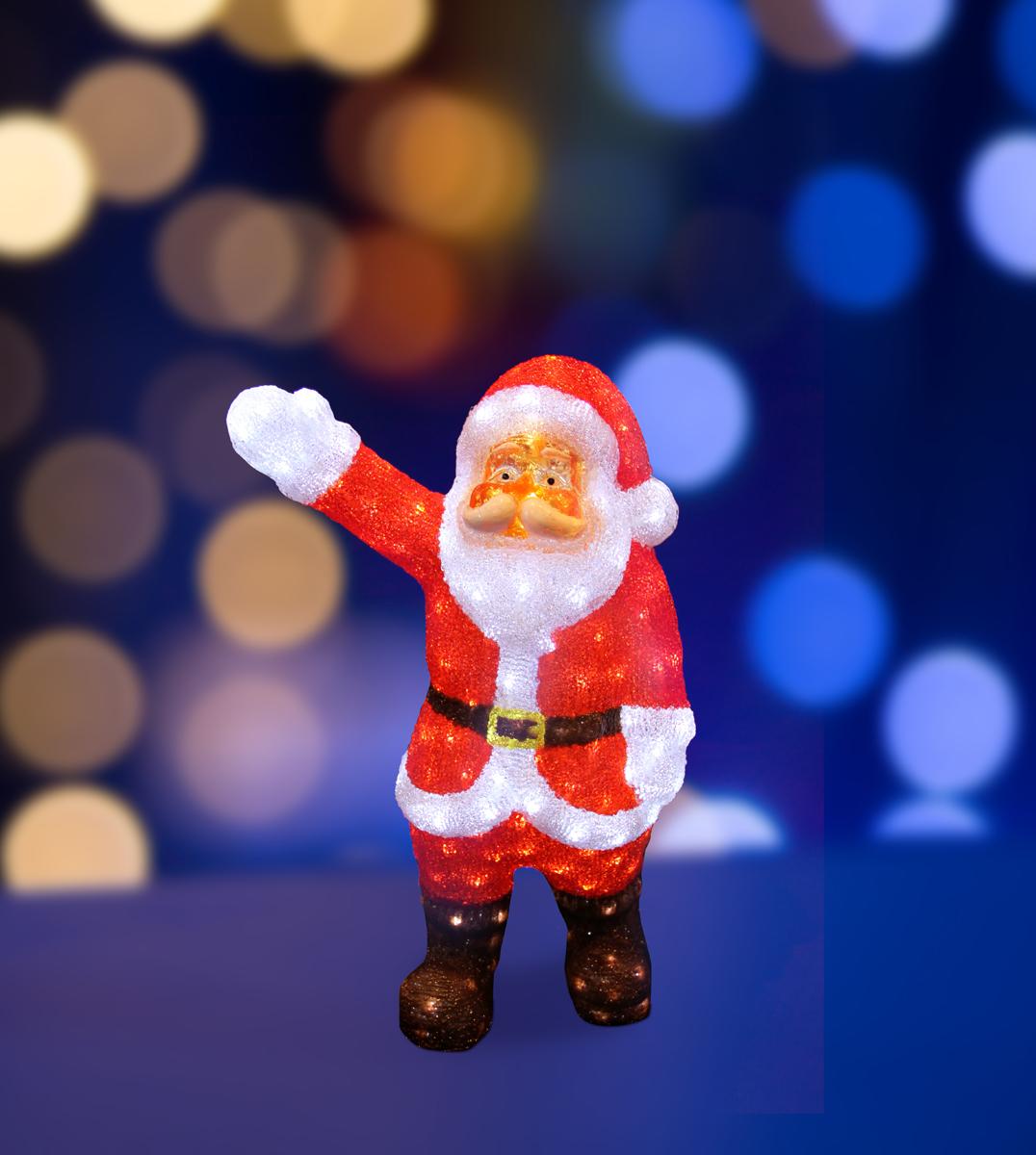 Фигура акриловая светодиодная Neon-Night Санта Клаус приветствует, 200 LED, с понижающим трансформатором, 60 см513-272Акриловые фигуры за несколько лет вызвали большой интерес у дизайнеров и частных клиентов. С каждым годом расширяется не только ассортимент акриловых фигур, но и появляются новые технологии нанесения акрила. Эти яркие, светящиеся объемные фигуры, состоящие из металлического каркаса, акрила и светодиодов, применяются для оформления и создания новогодней атмосферы в кафе, ресторанах, торговых центрах, магазинах, на площадях и перед входом, а также просто в частных домах и квартирах. Все фигуры укомплектованы понижающим трансформатором , что обеспечивает безопасность при контактировании, а так же имеют степень защиты IP 44, что позволяет использовать их как в помещении, так и на улице. Акриловая светодиодная фигура Санта Клаус приветствует высотой 60 см, светящаяся более чем 200 ярких диодов, выполнена по специальной технологии нанесения акрила имитируя шерстяной покров реального животного. Она позволит Вам создать ту самую, настояющую новогоднюю атмосферу и принести сотни радостных улыбок.
