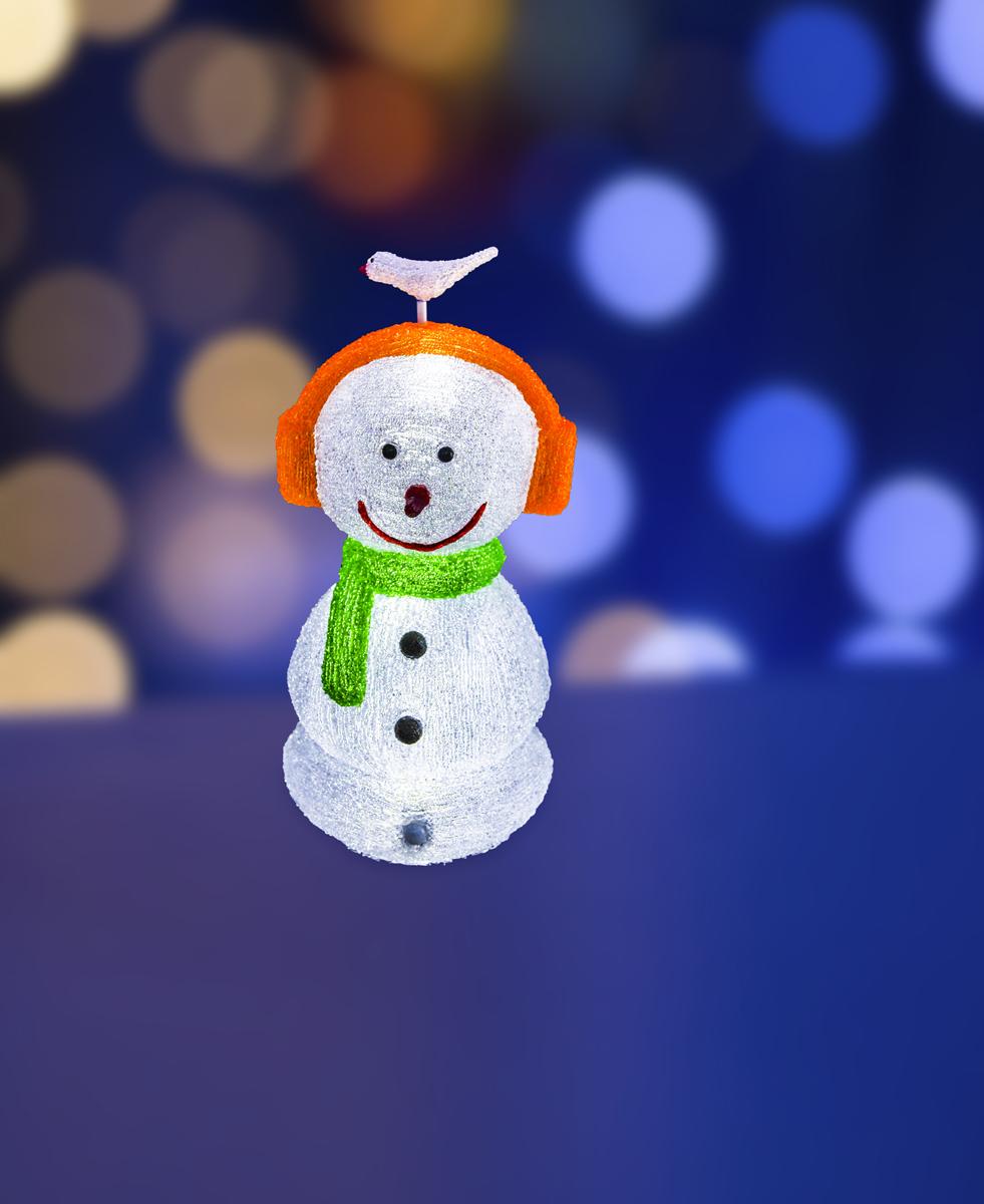 Фигура акриловая светодиодная Neon-Night Снеговик в наушниках, 16 LED, с понижающим трансформатором, 27 х 27 х 60 см513-331Акриловые фигуры за несколько лет вызвали большой интерес у дизайнеров и частных клиентов. С каждым годом расширяется не только ассортимент акриловых фигур, но и появляются новые технологии нанесения акрила. Эти яркие, светящиеся объемные фигуры, состоящие из металлического каркаса, акрила и светодиодов, применяются для оформления и создания новогодней атмосферы в кафе, ресторанах, торговых центрах, магазинах, на площадях и перед входом, а также просто в частных домах и квартирах. Все фигуры укомплектованы понижающим трансформатором , что обеспечивает безопасность при контактировании, а так же имеют степень защиты IP 44, что позволяет использовать их как в помещении, так и на улице. Акриловая светодиодная фигура Снеговик в наушниках высотой 60 см, светящаяся более чем 16 ярких диодов, выполнена по специальной технологии нанесения акрила. Новинка этого сезона позволит Вам создать ту самую, настоящую новогоднюю атмосферу и принести сотни радостных улыбок.