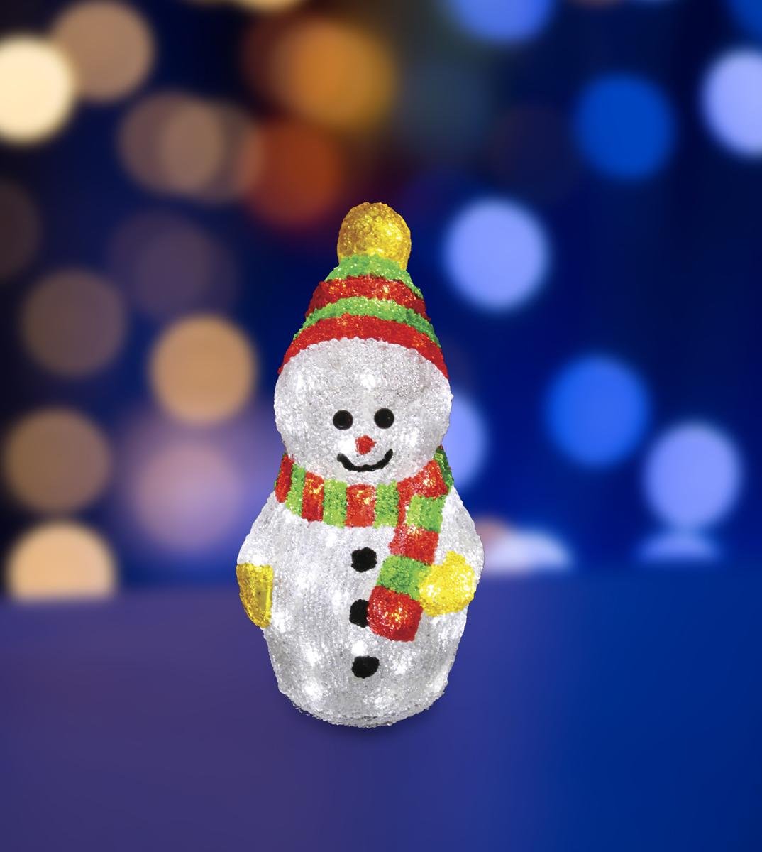 Фигура акриловая светодиодная Neon-Night Снеговик с шарфом, 40 LED, с понижающим трансформатором, 30 см фигура акриловая светодиодная neon night снеговик с шарфом 40 led с понижающим трансформатором 30 см