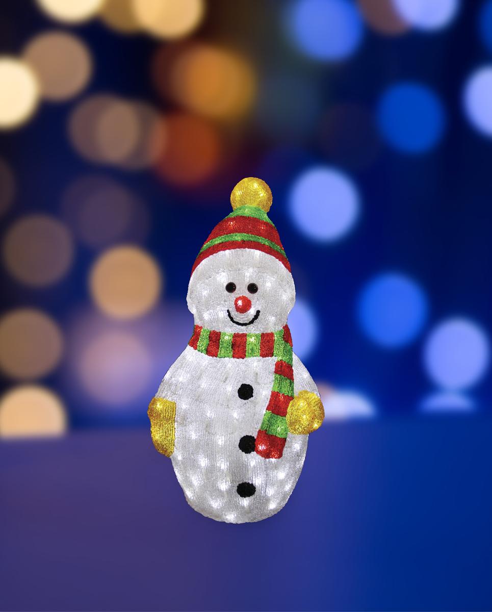 Фигура акриловая светодиодная Neon-Night Снеговик с шарфом, 200 LED, с понижающим трансформатором, 60 см513-274Акриловые фигуры за несколько лет вызвали большой интерес у дизайнеров и частных клиентов. С каждым годом расширяется не только ассортимент акриловых фигур, но и появляются новые технологии нанесения акрила. Эти яркие, светящиеся объемные фигуры, состоящие из металлического каркаса, акрила и светодиодов, применяются для оформления и создания новогодней атмосферы в кафе, ресторанах, торговых центрах, магазинах, на площадях и перед входом, а также просто в частных домах и квартирах. Все фигуры укомплектованы понижающим трансформатором , что обеспечивает безопасность при контактировании, а так же имеют степень защиты IP 44, что позволяет использовать их как в помещении, так и на улице. Акриловая светодиодная фигура Снеговик с шарфом высотой 60 см, светящаяся более чем 200 ярких диодов, выполнена по специальной технологии нанесения акрила. Она позволит Вам создать ту самую, настояющую новогоднюю атмосферу и принести сотни радостных улыбок.