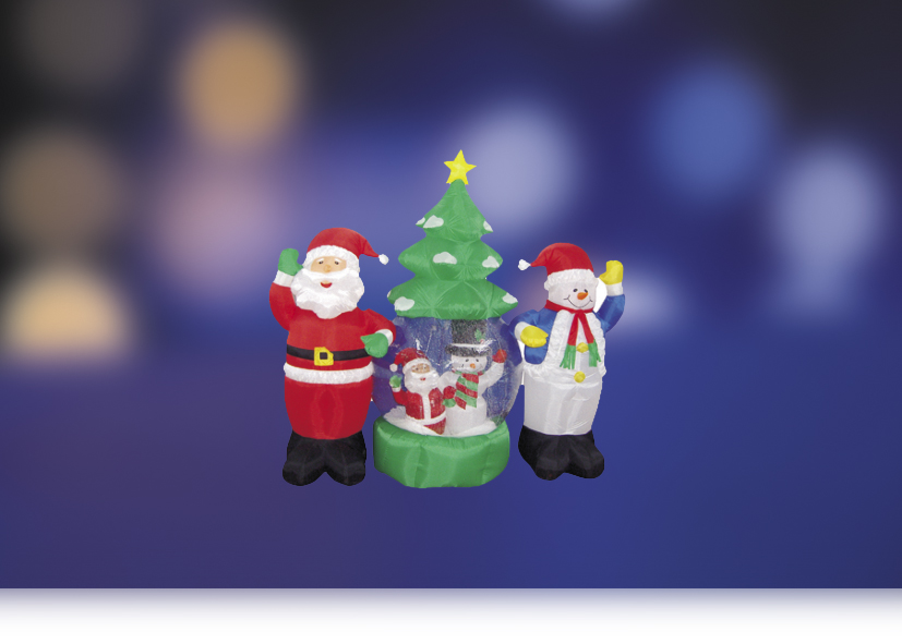 "3D фигура надувная Neon-Night ""Дед Мороз и Снеговик"", с подсветкой, диаметр шара 120 см"