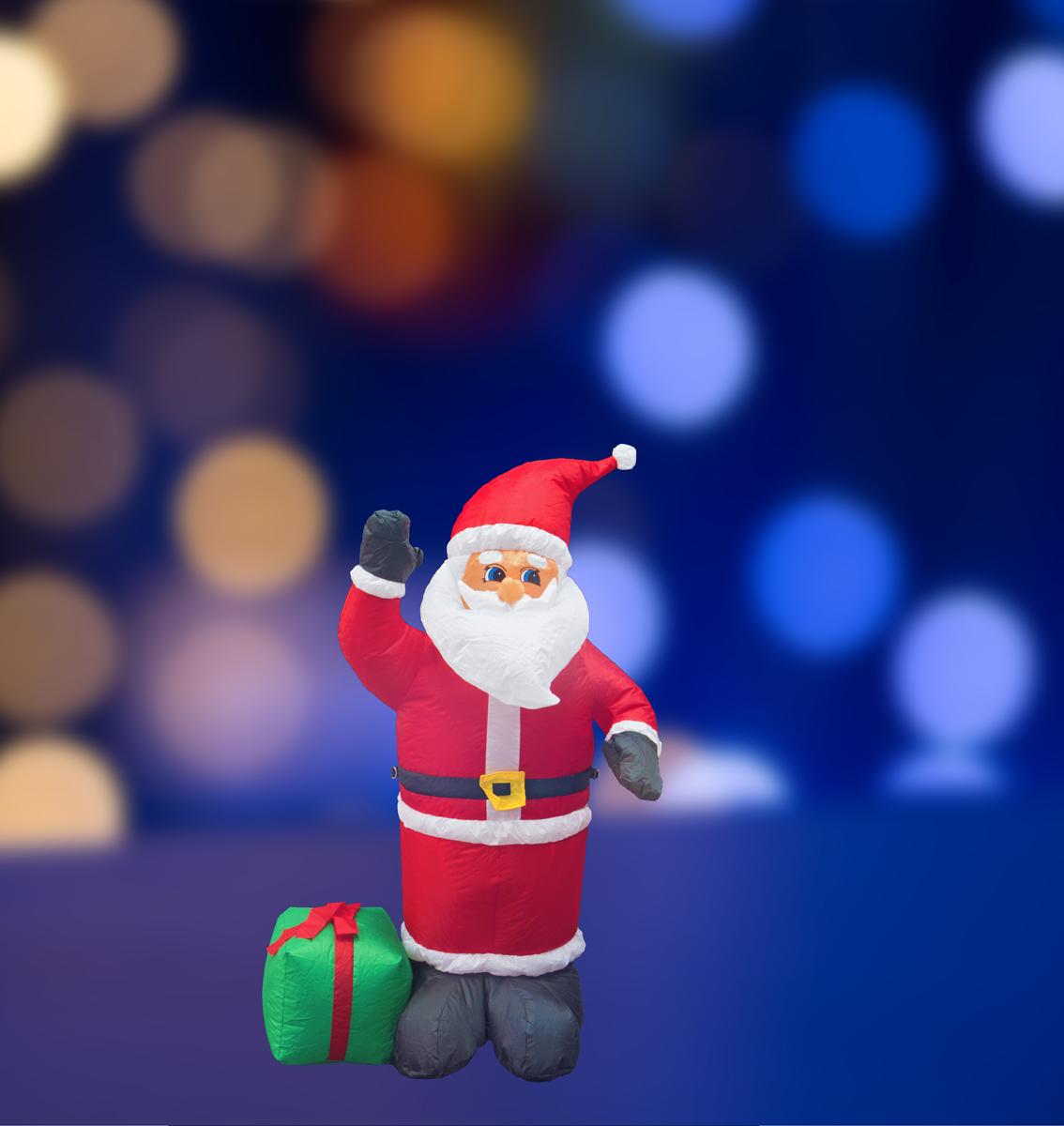 """3D фигура надувная Neon-Night """"Дед Мороз с подарком"""", с подсветкой, высота 120 см"""