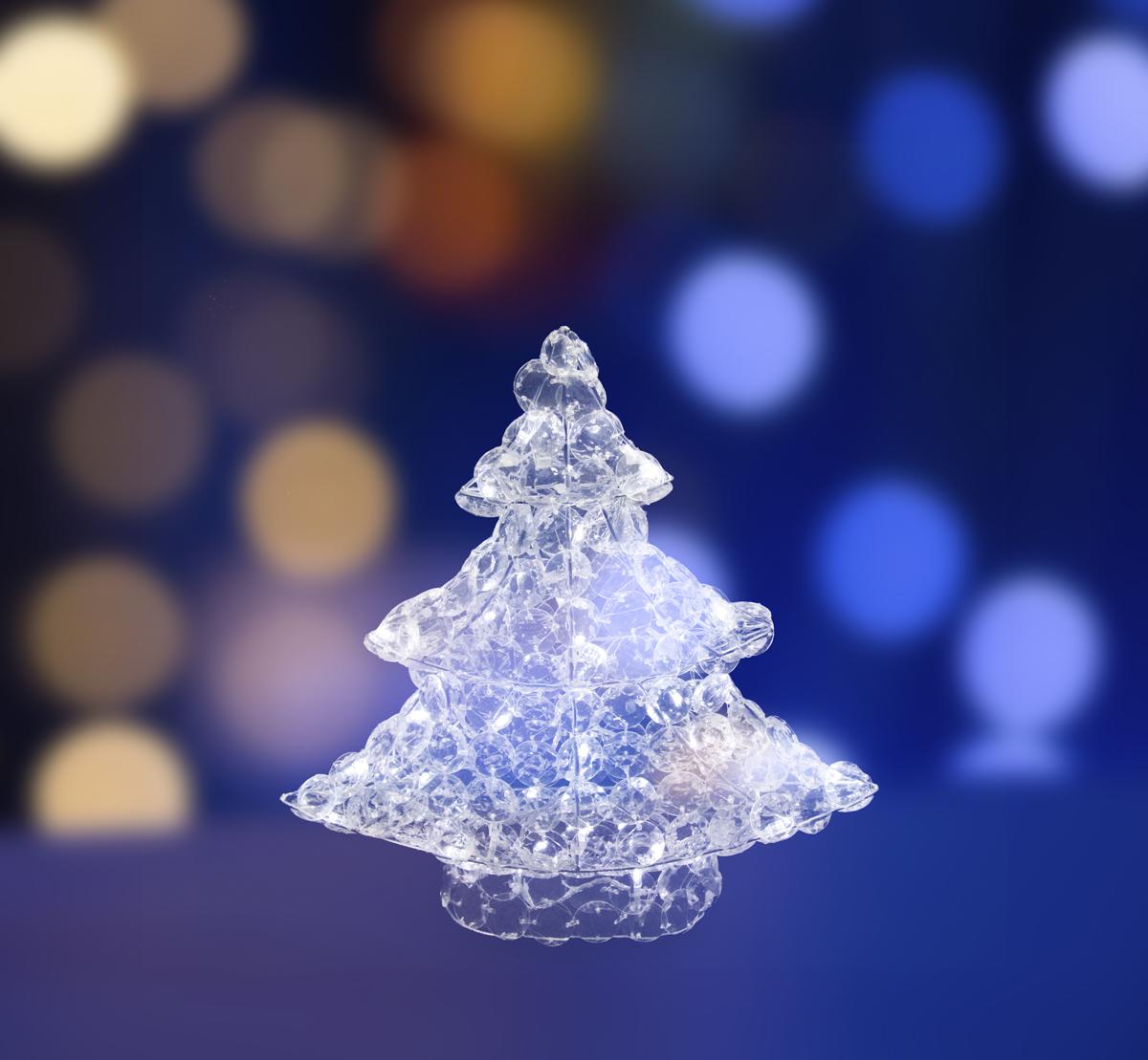 Фигура Neon-Night стеклянная Новогодняя Ель, светодиодная, 50 LED, с понижающим трансформатором, 40 см513-265Акриловые фигуры за несколько лет вызвали большой интерес у дизайнеров и частных клиентов. Скаждым годом расширяется не только ассортимент акриловых фигур, но и появляются новыетехнологии нанесения акрила. Эти яркие, светящиеся объемные фигуры, состоящие из металлического каркаса, крупных акриловых кристаллов и светодиодов, применяются для оформления и создания новогодней атмосферы в кафе, ресторанах, торговых центрах, магазинах, на площадях и перед входом, а также просто в частных домах и квартирах. Все фигуры укомплектованы понижающим трансформатором , что обеспечивает безопасность при контактировании, а так же имеют степень защиты IP 44, что позволяет использовать их как в помещении, так и на улице. Акриловая светодиодная фигура Новогодняя Ель высотой 40 см, светящаяся более чем 50 яркихдиодов, выполнена по специальной технологии создания крупных акриловых кристаллов. Онапозволит Вам создать ту самую, настоящую новогоднюю атмосферу и принести сотни радостныхулыбок.
