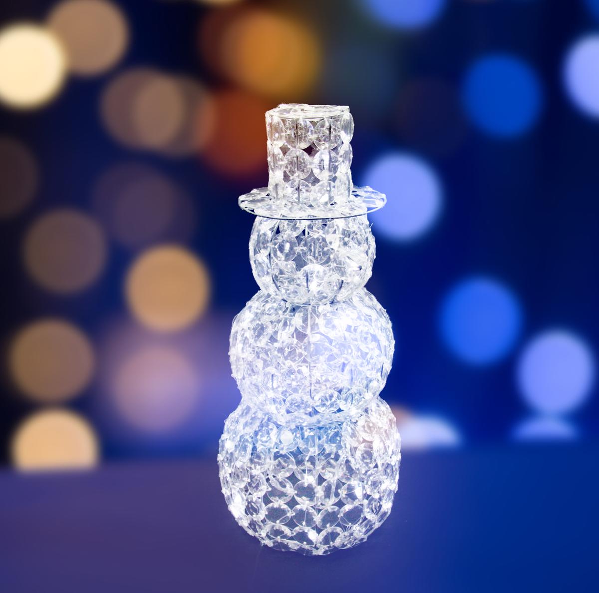 Фигура Neon-Night стеклянная Снеговик, светодиодная, 60 LED, с понижающим трансформатором, 50 см513-262Акриловые фигуры за несколько лет вызвали большой интерес у дизайнеров и частных клиентов. С каждым годом расширяется не только ассортимент акриловых фигур, но и появляются новые технологии нанесения акрила. Эти яркие, светящиеся объемные фигуры, состоящие из металлического каркаса, акрила и светодиодов, применяются для оформления и создания новогодней атмосферы в кафе, ресторанах, торговых центрах, магазинах, на площадях и перед входом, а также просто в частных домах и квартирах. Все фигуры укомплектованы понижающим трансформатором , что обеспечивает безопасность при контактировании, а так же имеют степень защиты IP 44, что позволяет использовать их как в помещении, так и на улице. Акриловая светодиодная фигура Снеговик высотой 50 см, светящаяся более чем 60 ярких диодов, выполнена по специальной технологии нанесения акрила. Она позволит Вам создать ту самую, настояющую новогоднюю атмосферу и принести сотни радостных улыбок