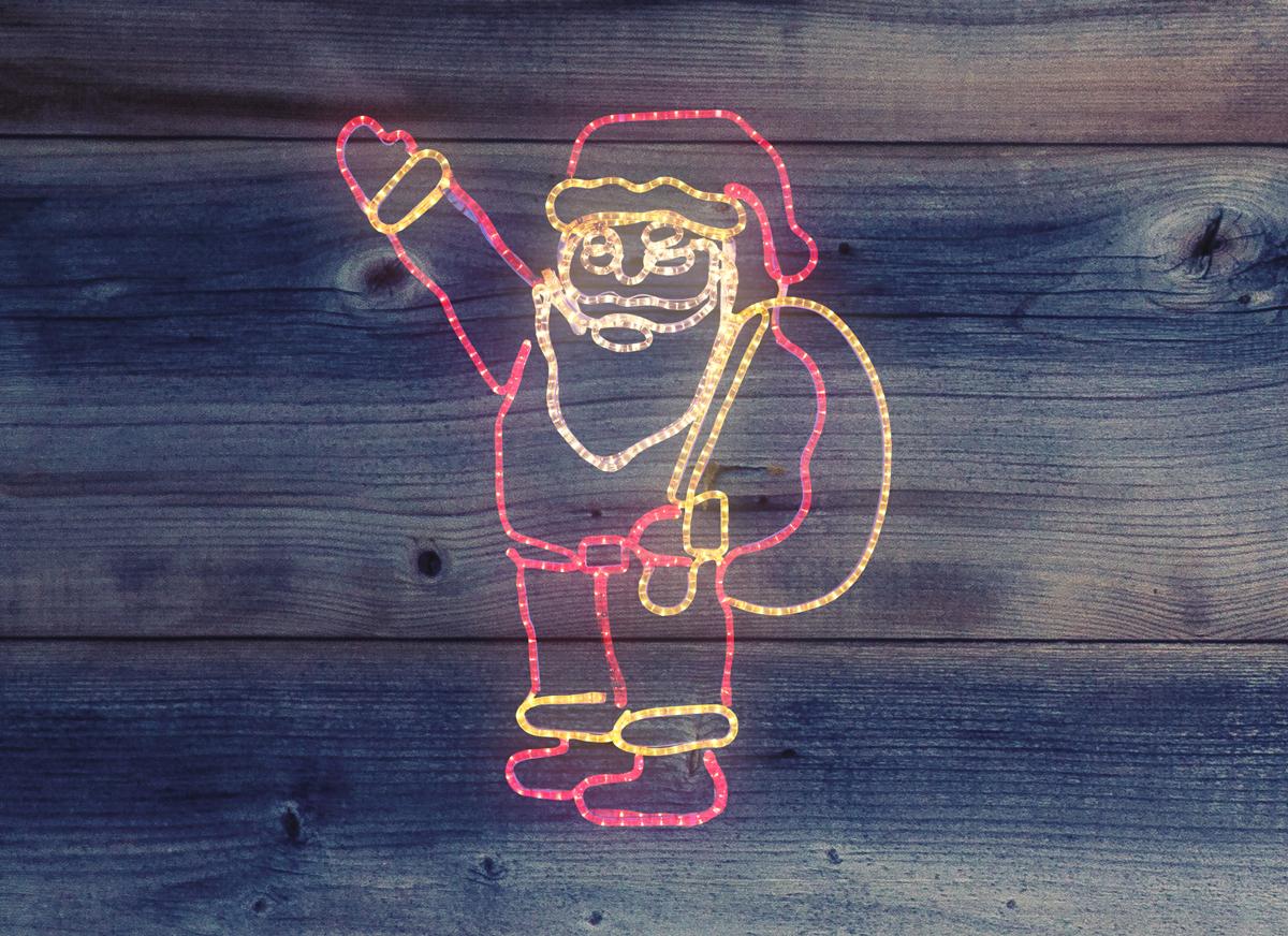 Фигура Neon-Night Санта Клаус с мешком подарков, 100 х 100 см501-312Фигуры из дюралайта. Для изготовления данных фигур используют светодиодный дюралайт и металлический каркас. Этим способом можно создавать световые фигуры любой формы – от снеговиков и снежинок до красочных надписей. Сегодня на рынке более распространенными являются фигуры с применением дюралайта, основанного на лампах накаливания. Но они обладают яркостью, не отвечающей запросам современных дизайнеров, и очень недолговечны. Поэтому своим клиентам мы предлагаем световые изделия высочайшего качества, выполненные на основе отлично себя зарекомендовавших светодиодов. Такая продукция несколько дороже ламповой, но ее отличает высокая надежность, долговечность и низкое энергопотребление. А наиболее впечатляющим достоинством фигур из светодиодного дюралайта является несравнимая с лампами яркость. Сочные, красочные цвета свечения таких LED фигур открывают невообразимые просторы для творчества световым дизайнерам, отвечающим за праздничное настроение. Созданные на основе светодиодного дюралайта
