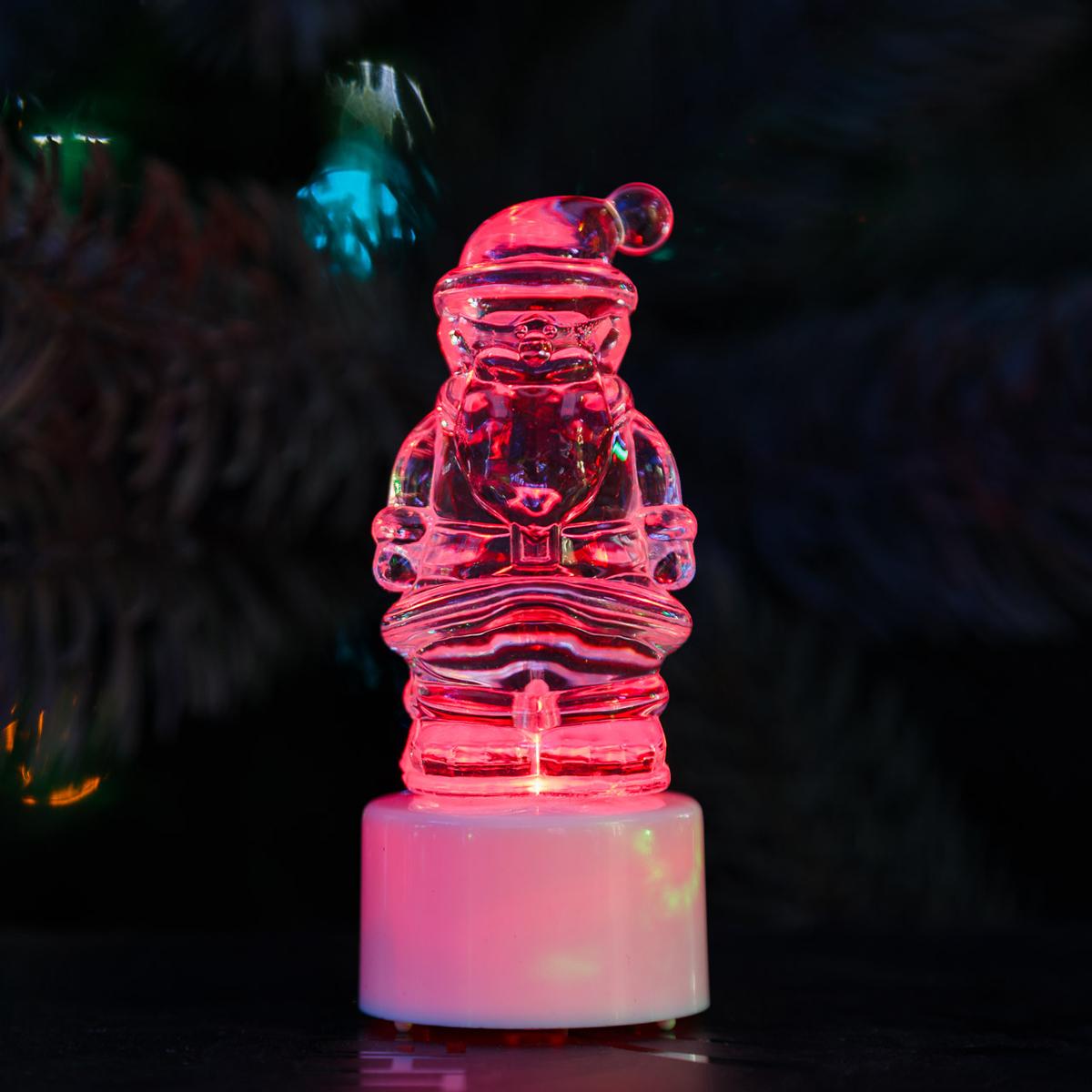 Фигура светодиодная на подставке Санта Клаус, RGB501-040Светодиодная фигура на подставке Санта Клаус станет прекрасным украшением домашнего интерьера, рабочего стола или послужит просто символичным новогодним комплиментом. Фигура работает от батареек LR44 (в комплекте), плавная смена цвета (RGB) создаст приятное праздничное настроение.