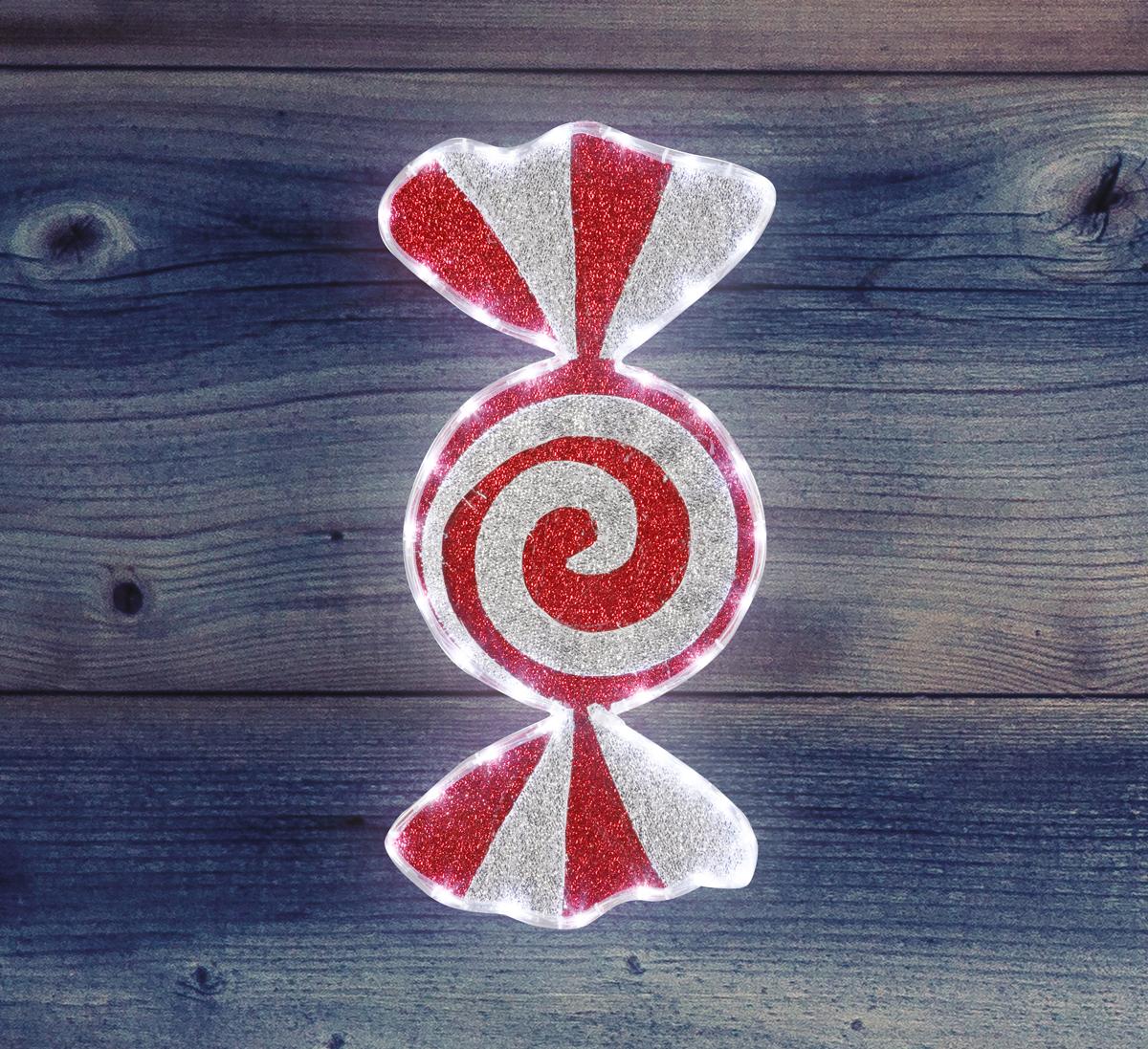 Фигура Карамель бархатная, размеры 60*30 см (42 БЕЛЫХ LED)514-052Фигура Карамель имеет цветовое заполнение из специального материала, благодаря этому она выглядит празднично не только в темное время суток, когда радует глаз своим свечением, но и днем, отражая свет и переливаясь при попадании солнечных лучей. Фигура Леденец не только доставляет радость детям, но и позволяет взрослым погрузиться в сказочный мир детства и вспомнить о тех радостных моментах празднования Нового Года и Рождества!